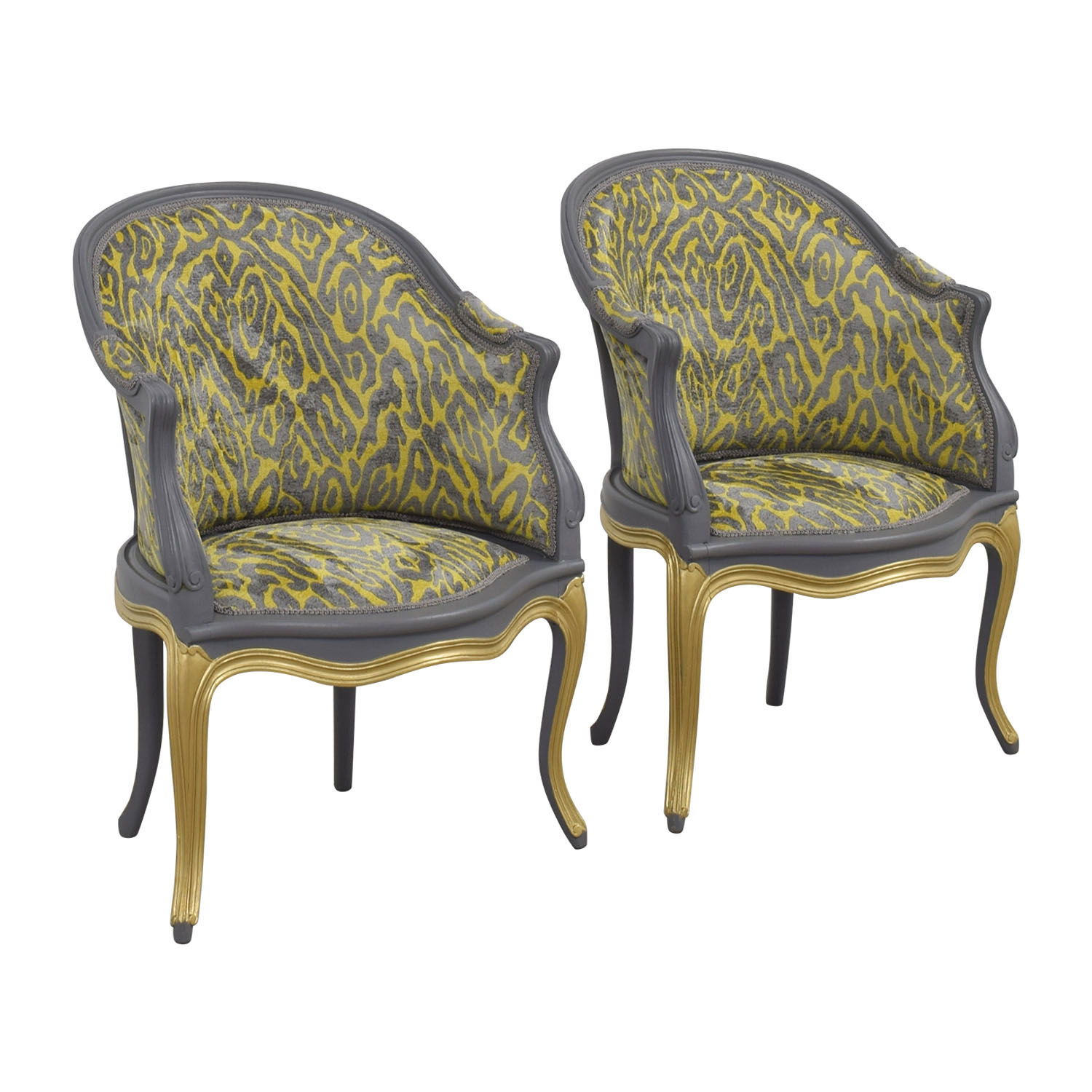 Country French Grey and Yellow Accent Chairs Chairs