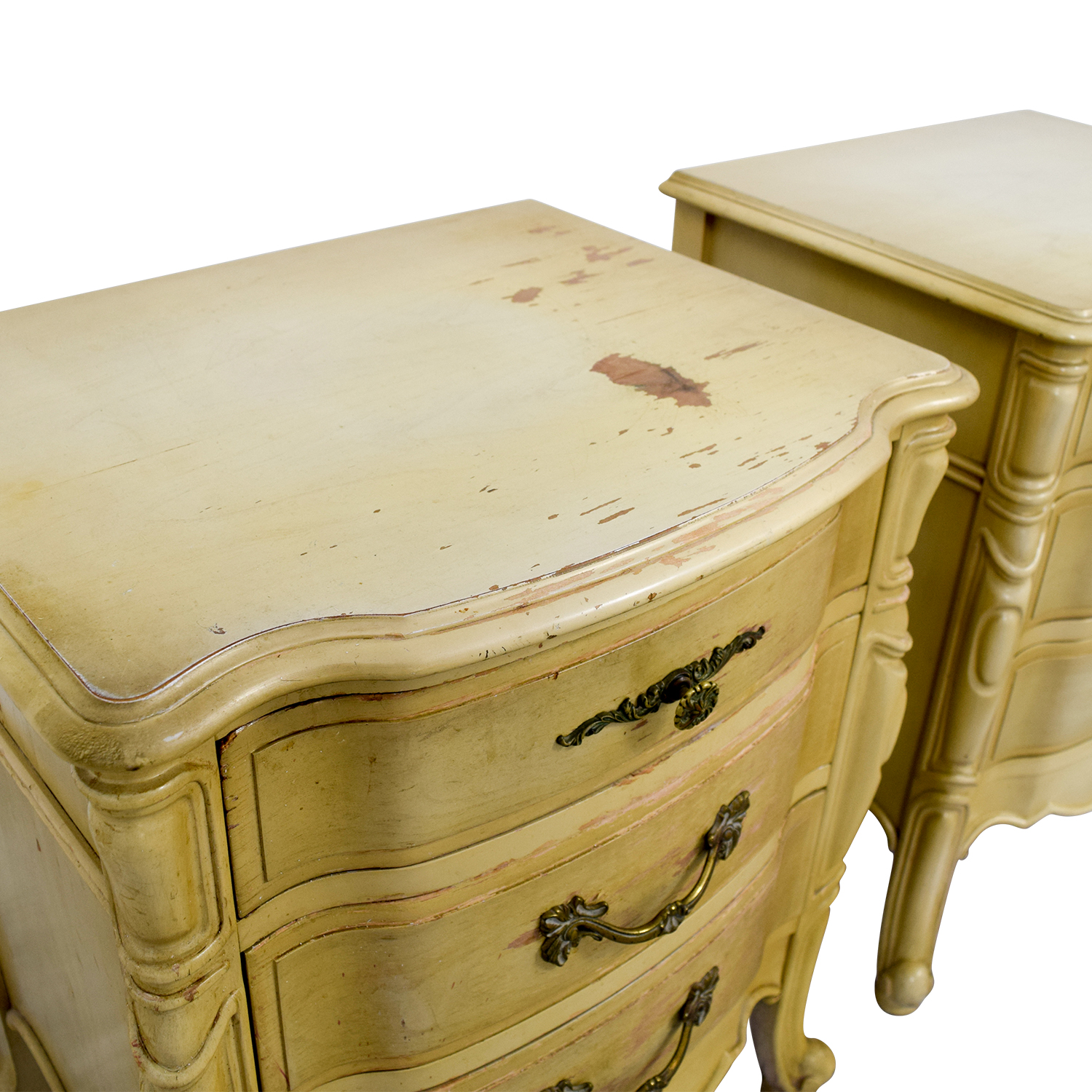 French Provincial Three Drawer Natural Night Tables yellow