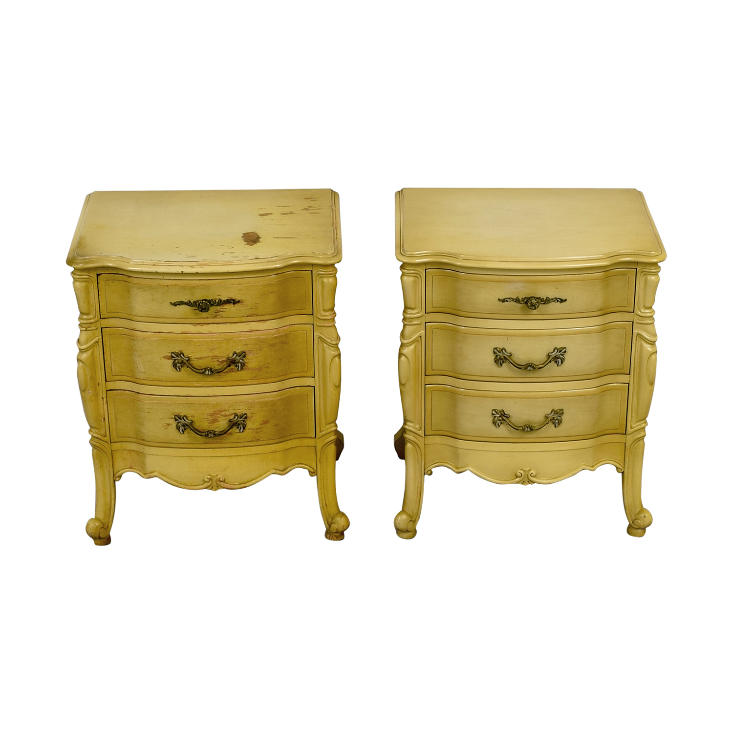 French Provincial Three Drawer Natural Night Tables on sale