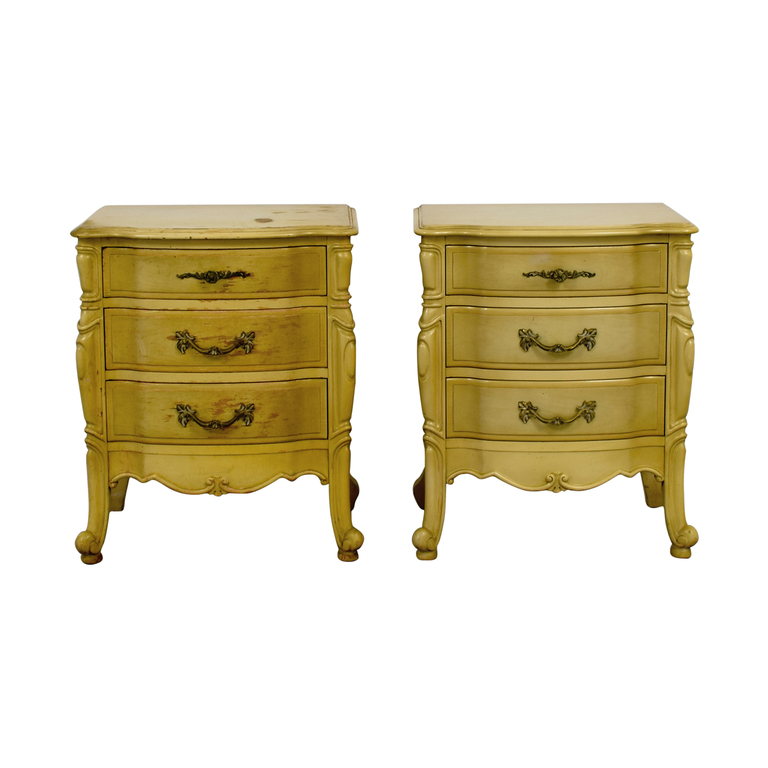 French Provincial Three Drawer Natural Night Tables nyc