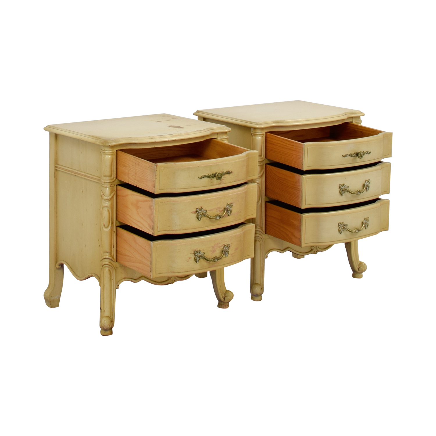 French Provincial Three Drawer Natural Night Tables second hand