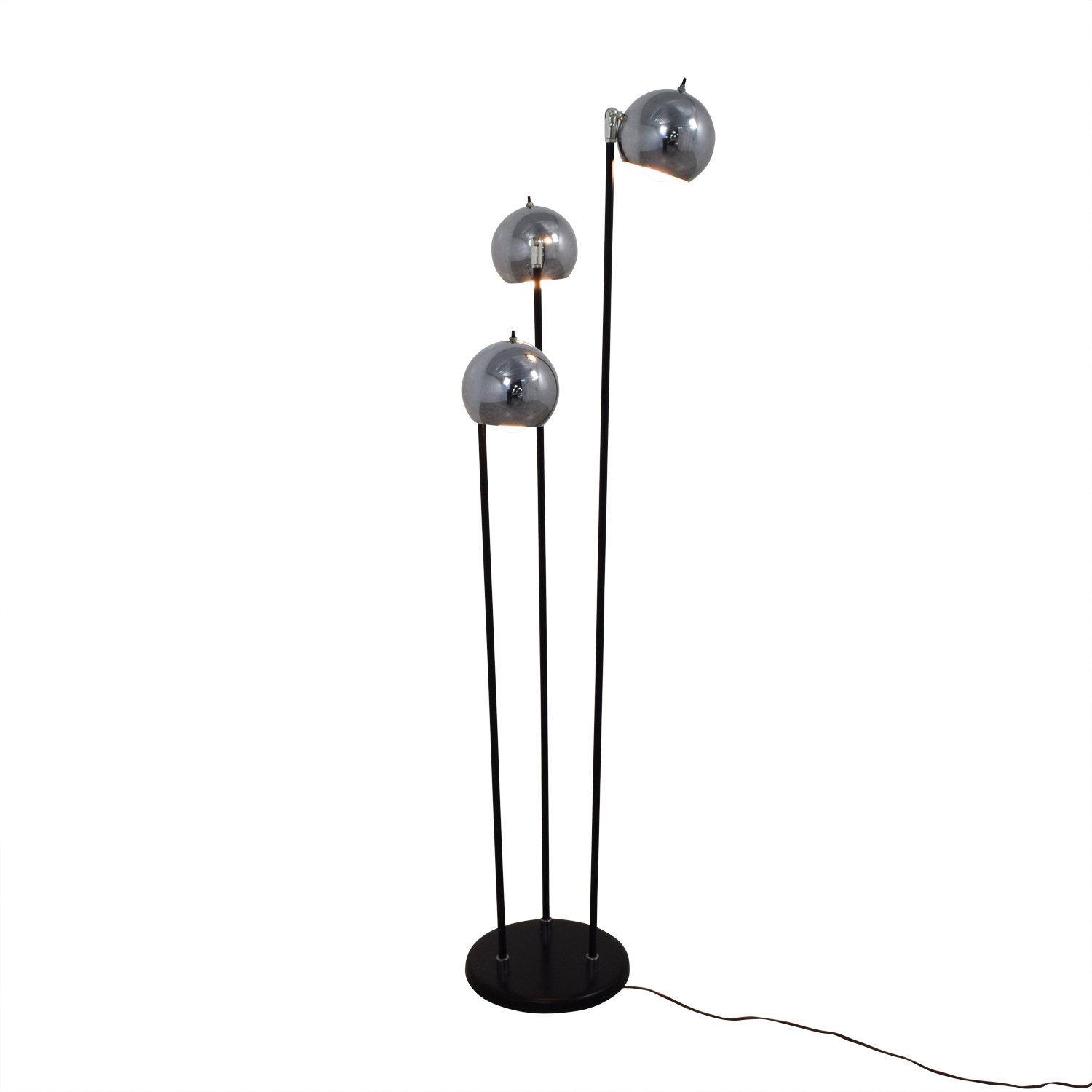 Modern Floor Lamp with Three Rounded Chrome Shades / Lamps