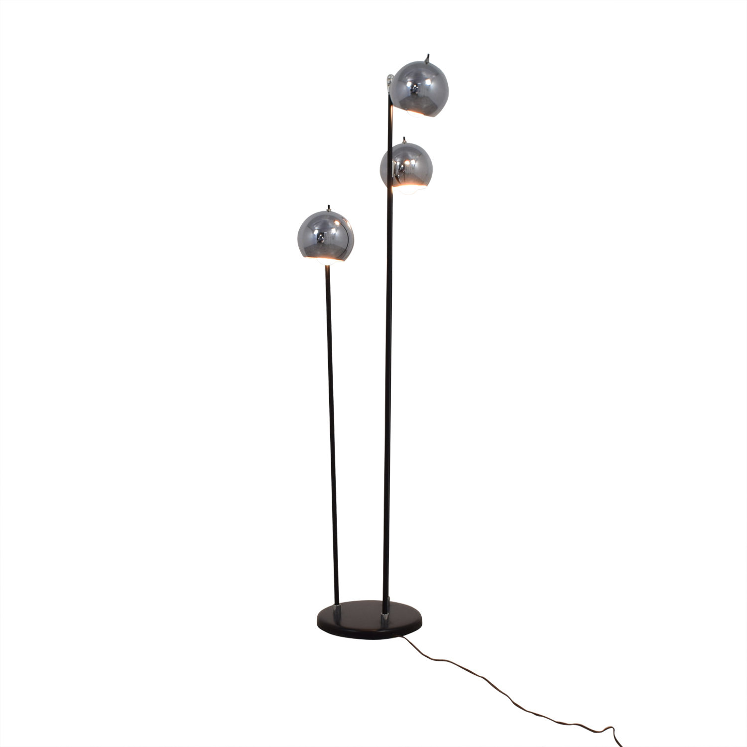 Modern Floor Lamp with Three Rounded Chrome Shades / Decor