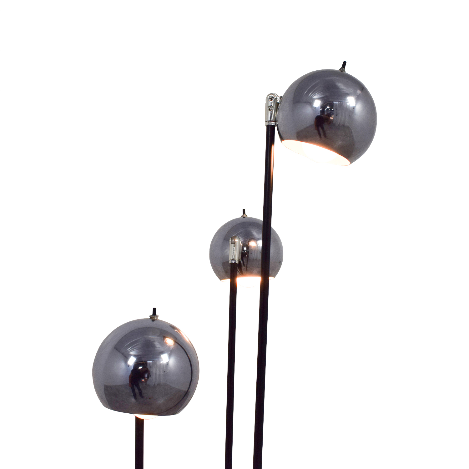 buy Modern Floor Lamp with Three Rounded Chrome Shades Decor