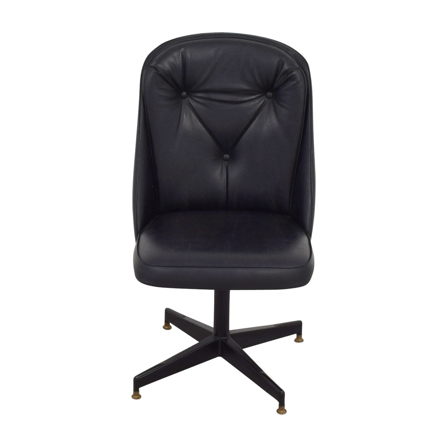 Black Leather Swivel Office Desk Chair for sale