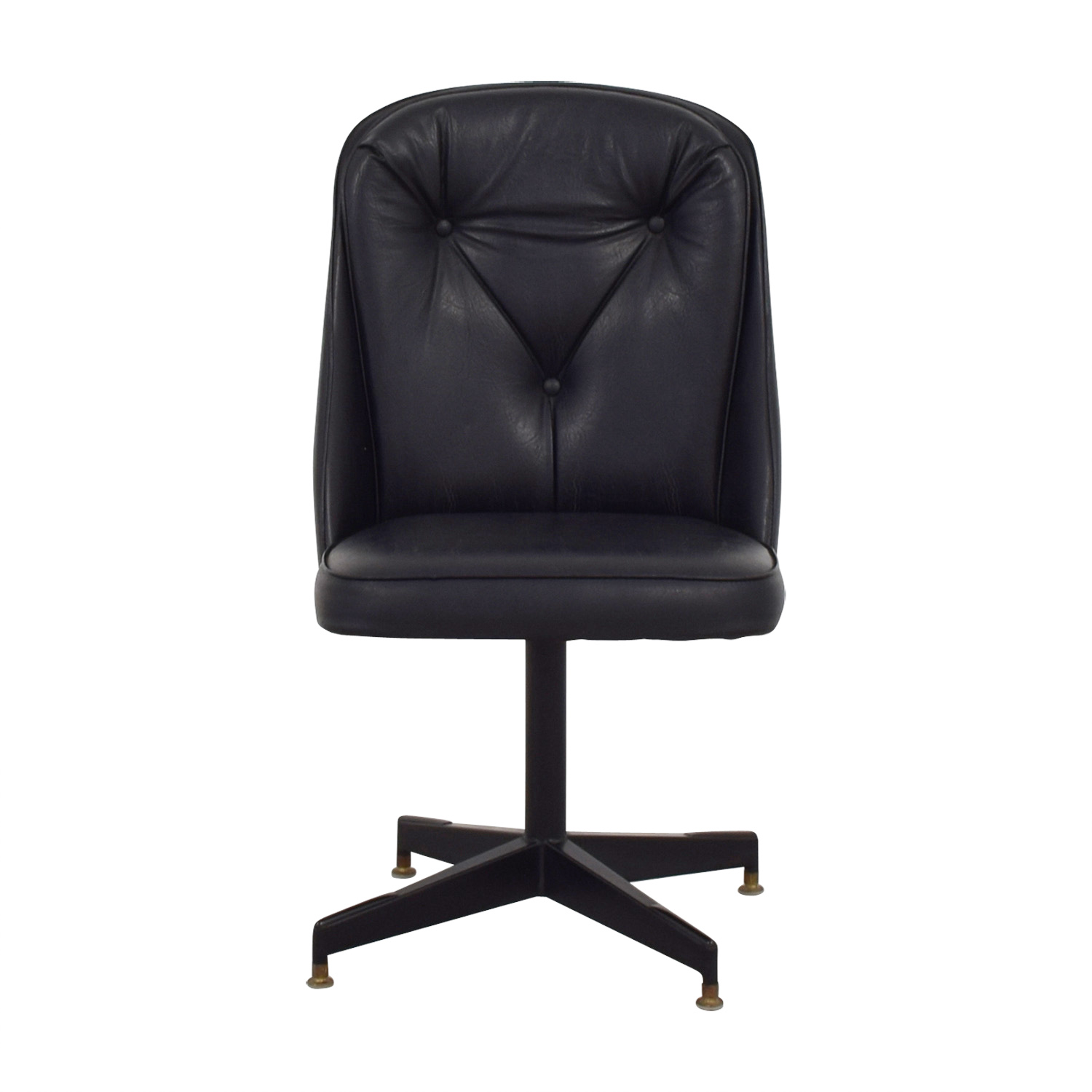 Black Leather Swivel Office Desk Chair on sale