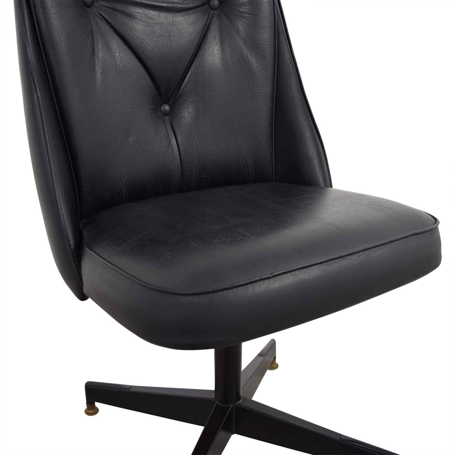 Black Leather Swivel Office Desk Chair dimensions
