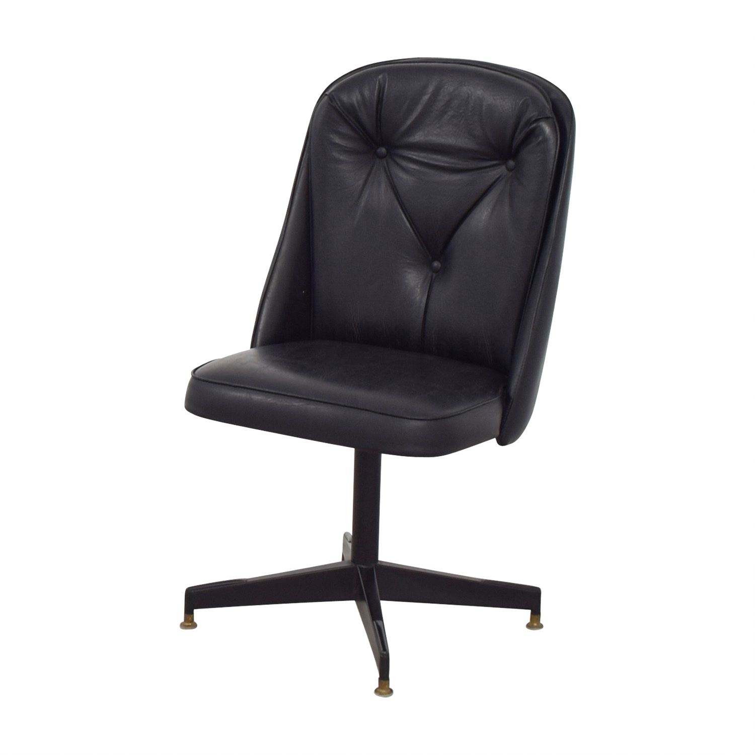 62 Off Black Leather Swivel Office Desk Chair Chairs