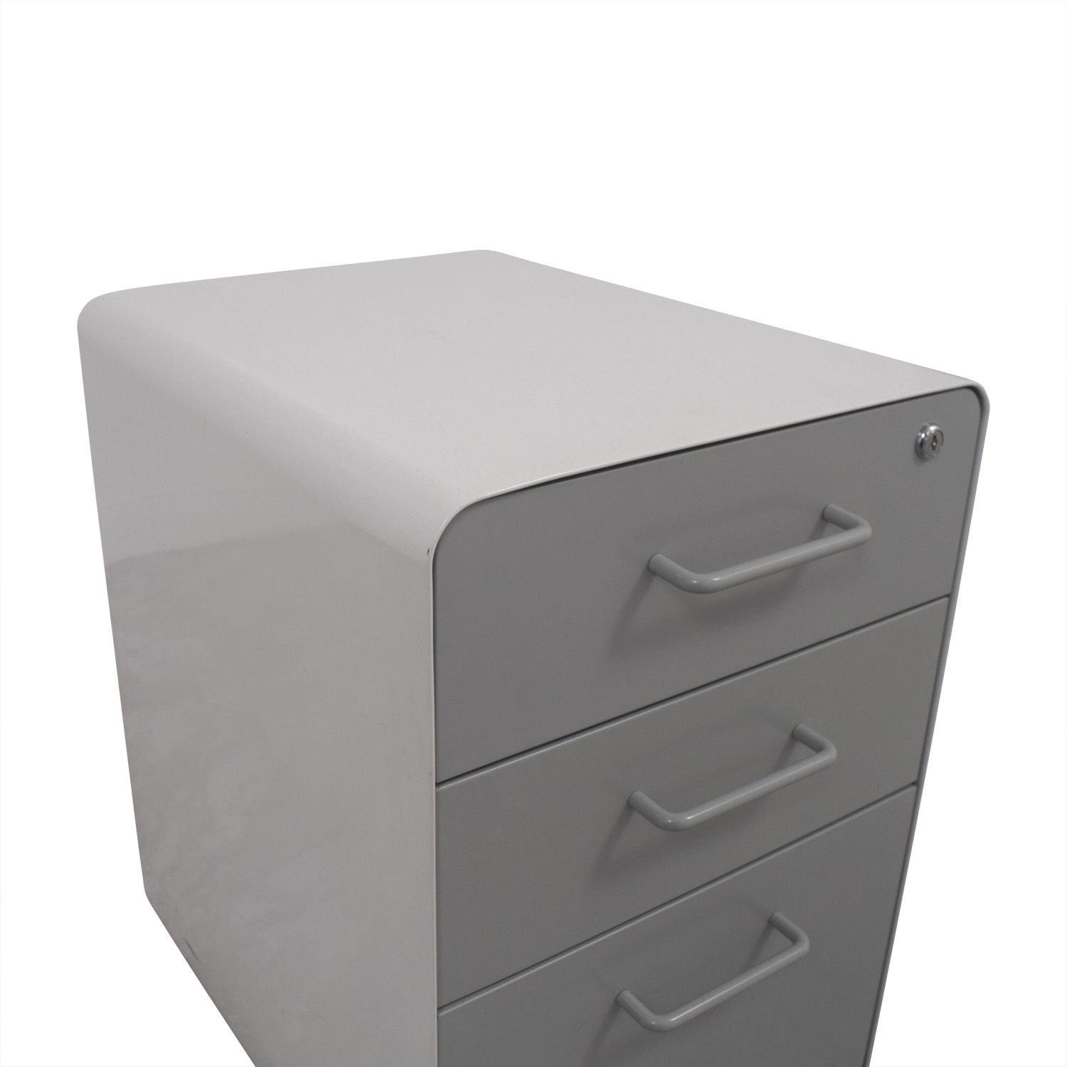 Poppin Poppin Light Grey and White Three-Drawer File Cabinet price