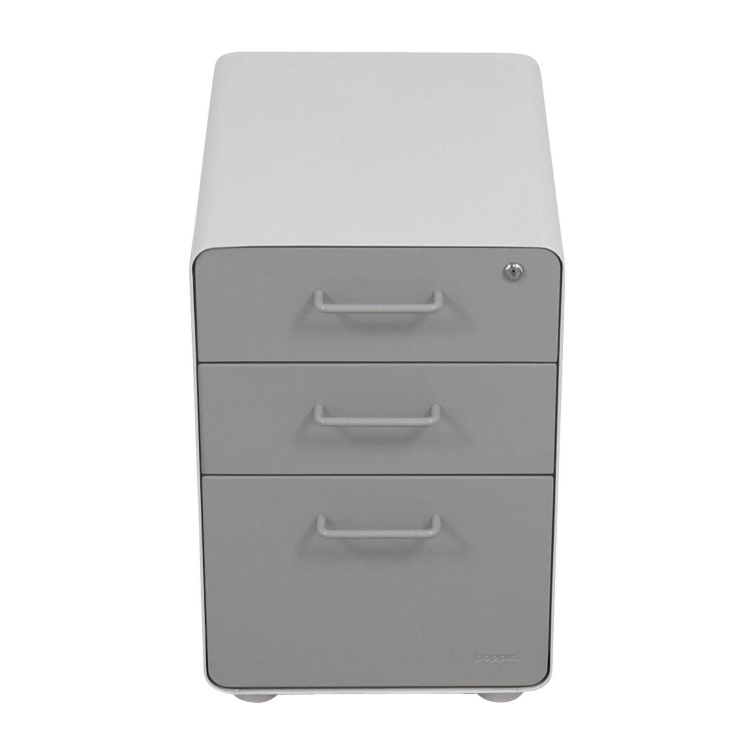 shop Poppin Light Grey and White Three-Drawer File Cabinet Poppin Sofas