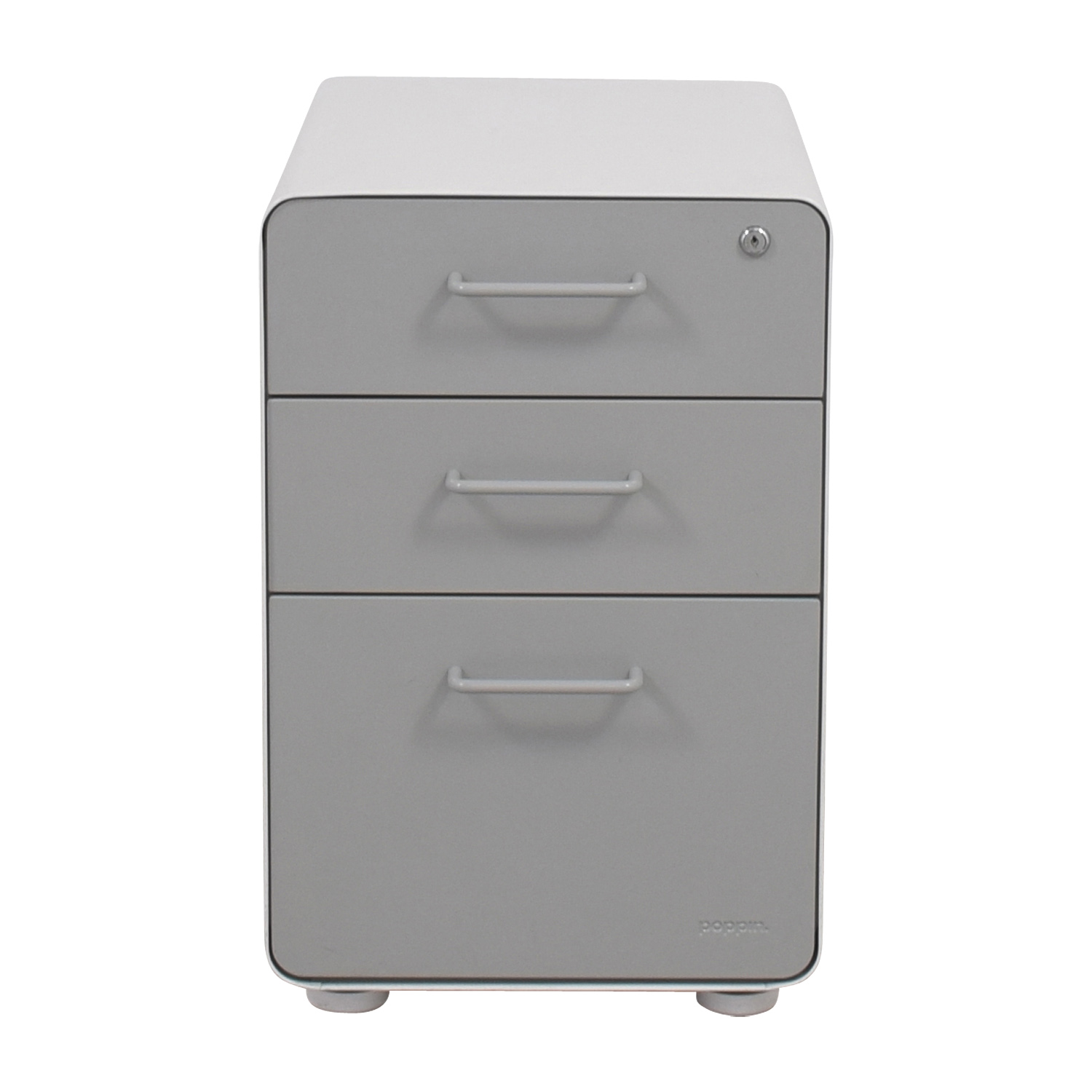 Poppin Poppin Light Grey and White Three-Drawer File Cabinet second hand