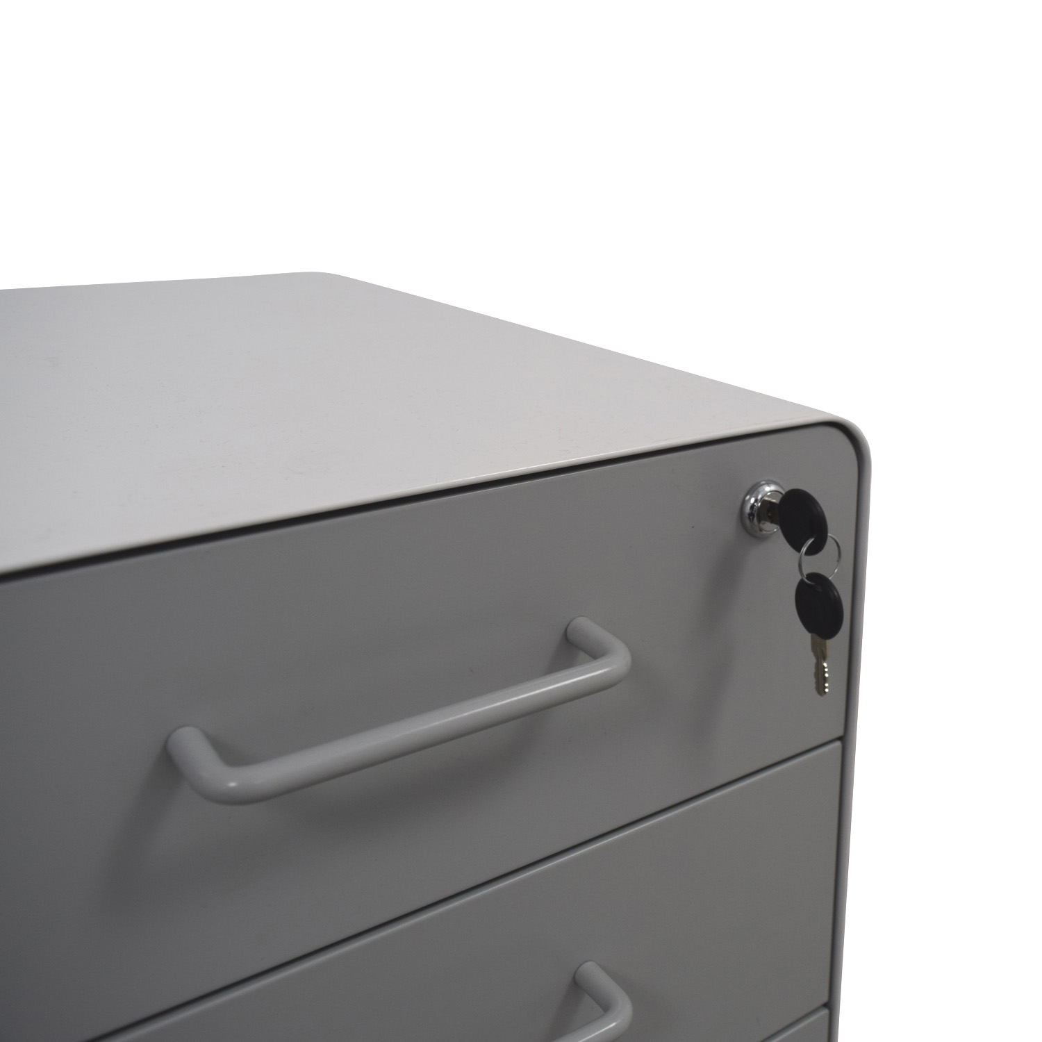 buy Poppin Light Grey and White Three-Drawer File Cabinet Poppin