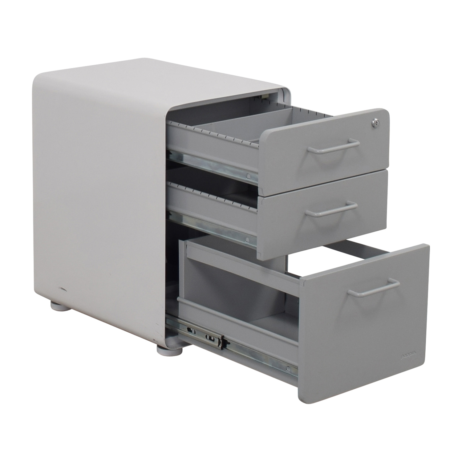 shop Poppin Light Grey and White Three-Drawer File Cabinet Poppin Filing & Bins