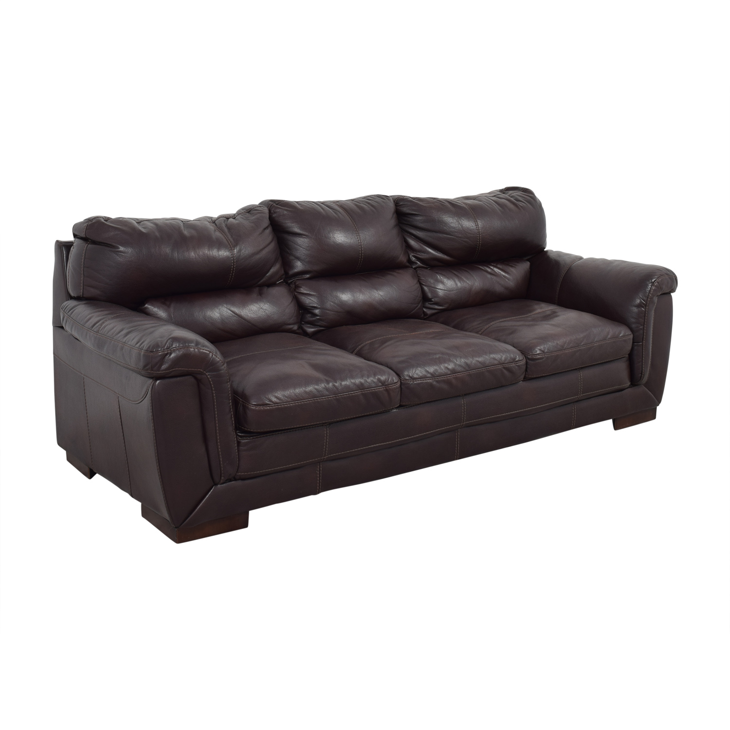 CB2 CB2 Brown Leather Three-Cushion Sofa Classic Sofas