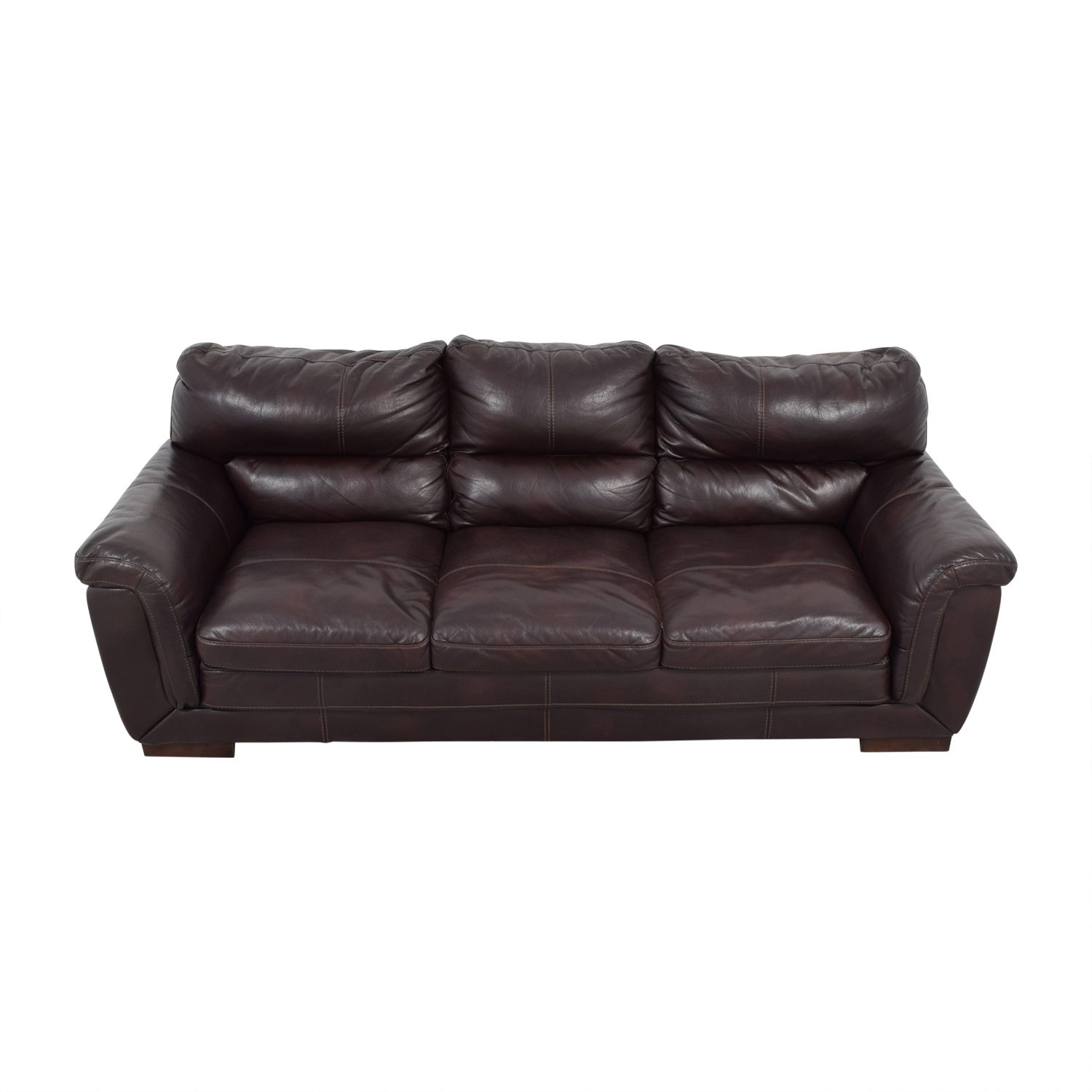 buy CB2 Brown Leather Three-Cushion Sofa CB2