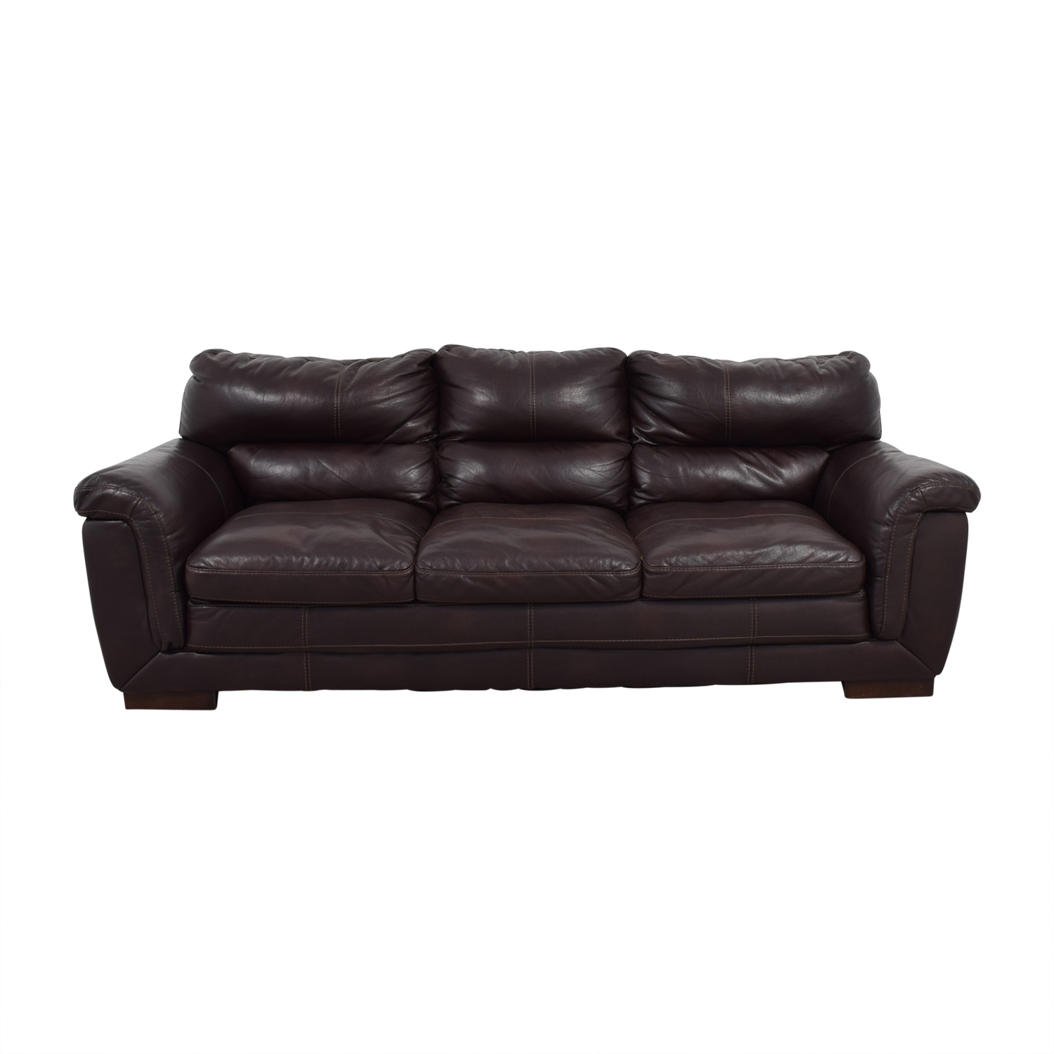 shop CB2 CB2 Brown Leather Three-Cushion Sofa online