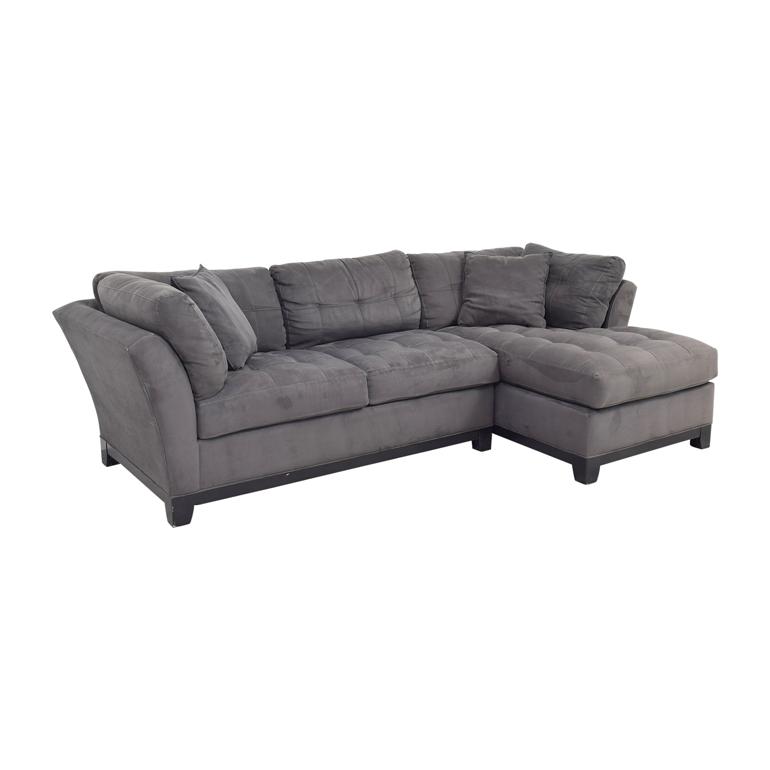 Raymour & Flanigan Raymour & Flanigan Charcoal Tufted Chaise Sectional nyc