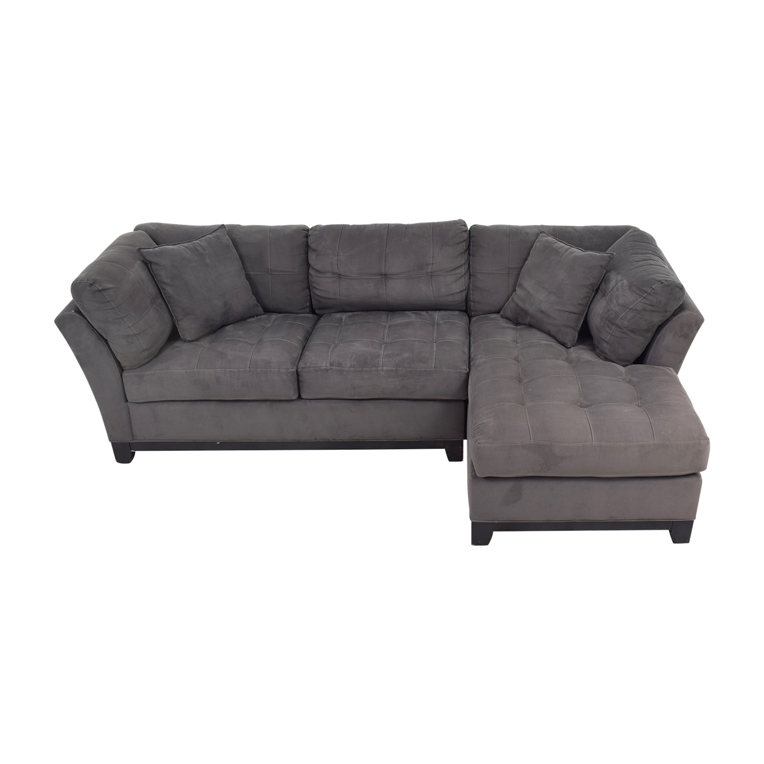 shop Raymour & Flanigan Charcoal Tufted Chaise Sectional Raymour & Flanigan Sectionals