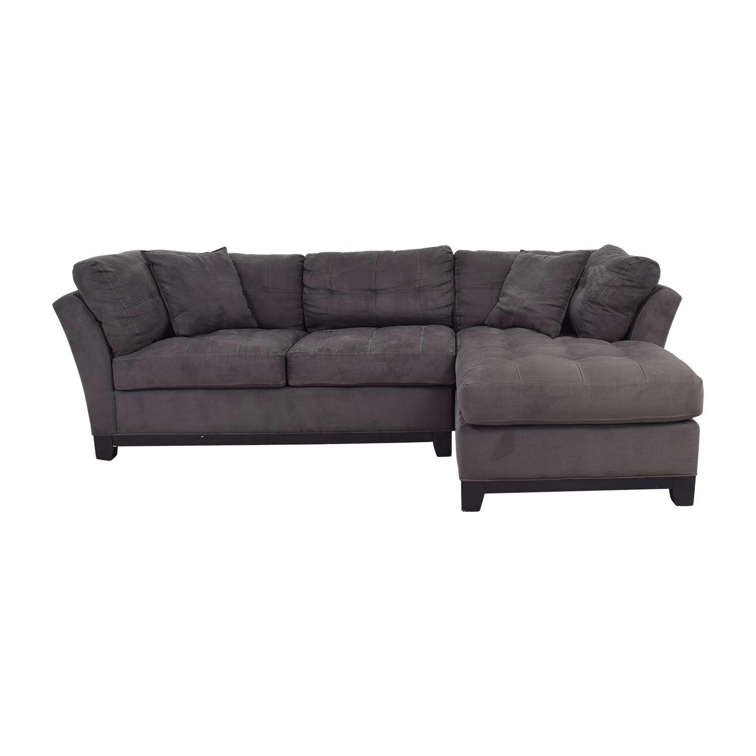 shop Raymour & Flanigan Charcoal Tufted Chaise Sectional Raymour & Flanigan