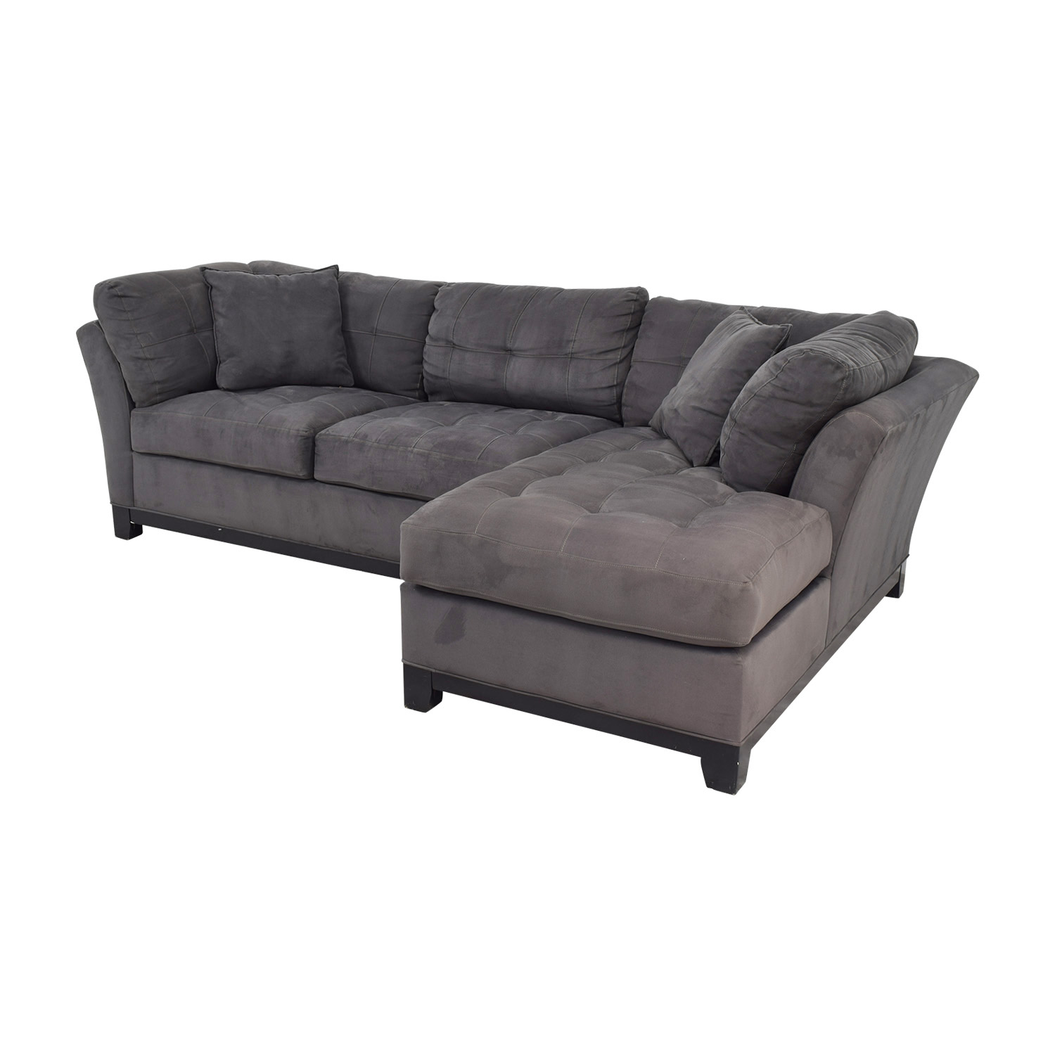 Raymour & Flanigan Raymour & Flanigan Charcoal Tufted Chaise Sectional price