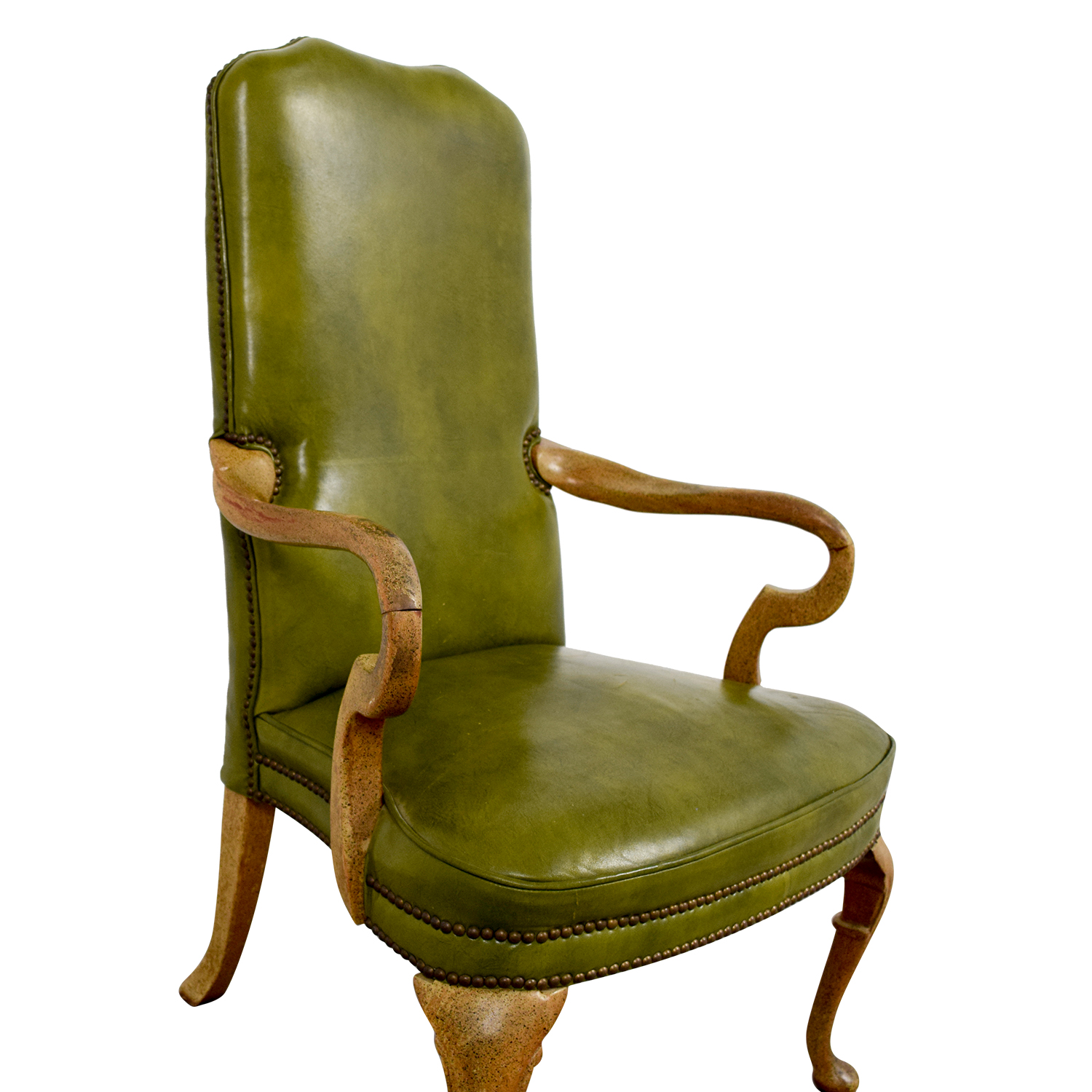 shop Green Leather Studded Regency Chair online