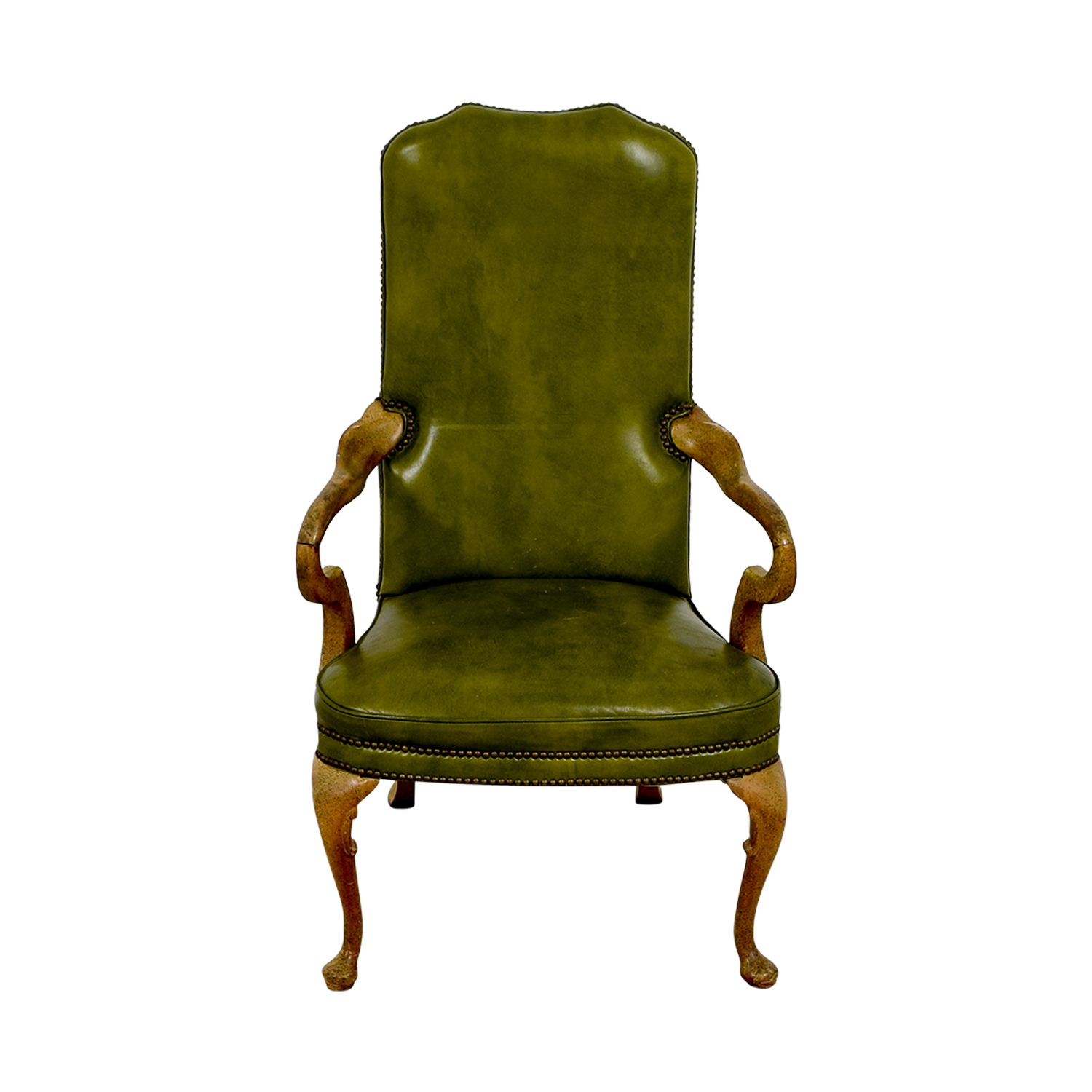 Green Leather Studded Regency Chair nyc