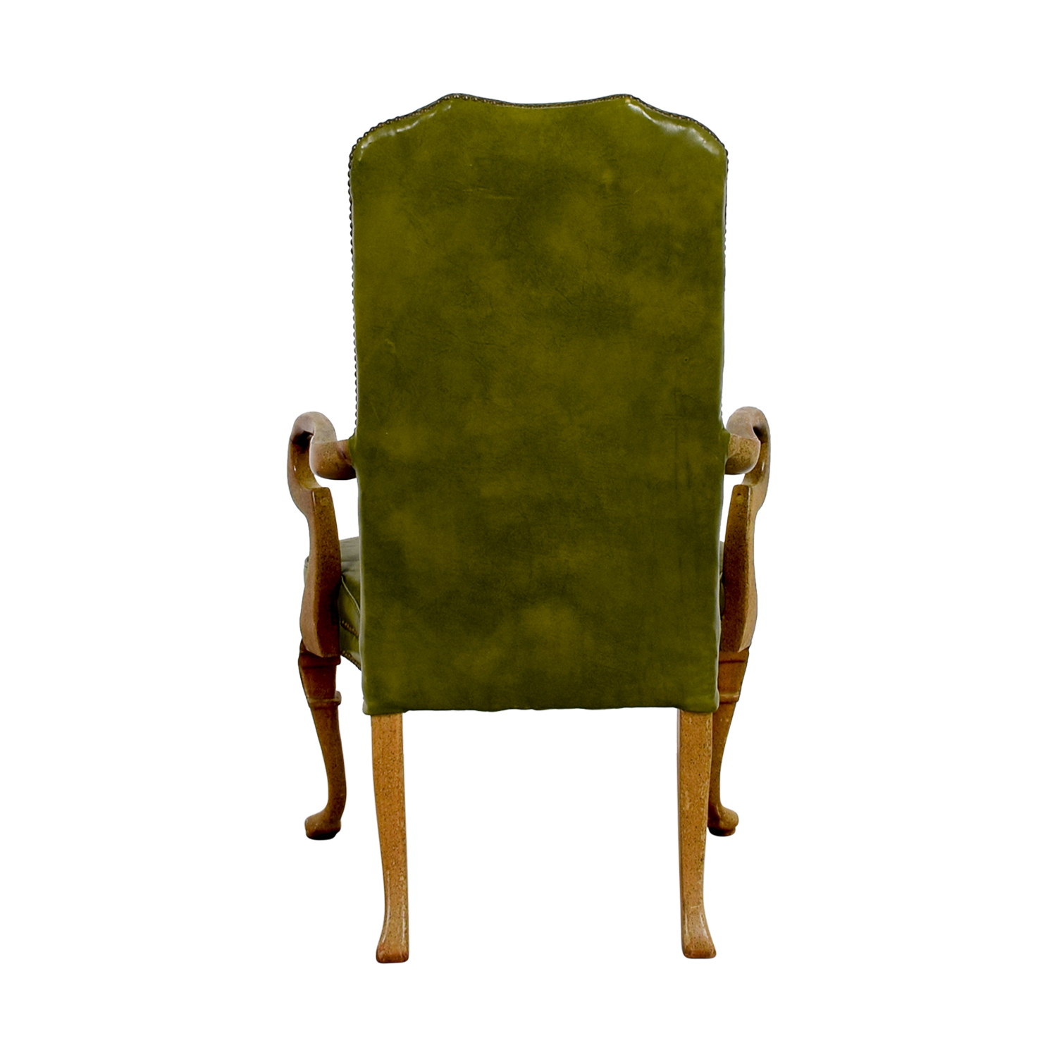Green Leather Studded Regency Chair Green / Light Brown