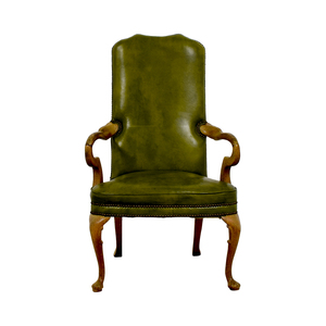 Green Leather Studded Regency Chair