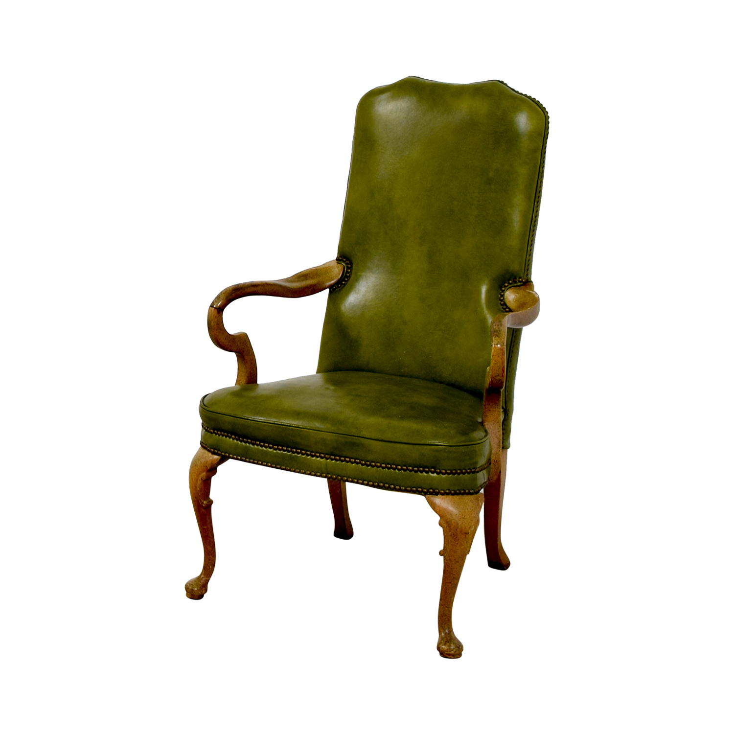 Green Leather Studded Regency Chair for sale