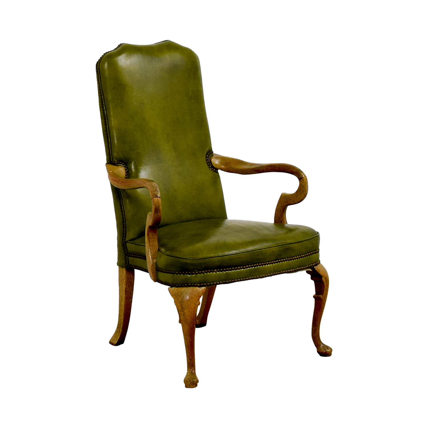 buy Green Leather Studded Regency Chair Chairs
