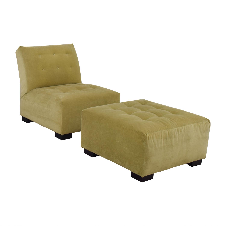 Mitchell Gold + Bob Williams Mitchell Gold + Bob Williams Sage Green Tufted Velvet Lounge Chair & Ottoman on sale