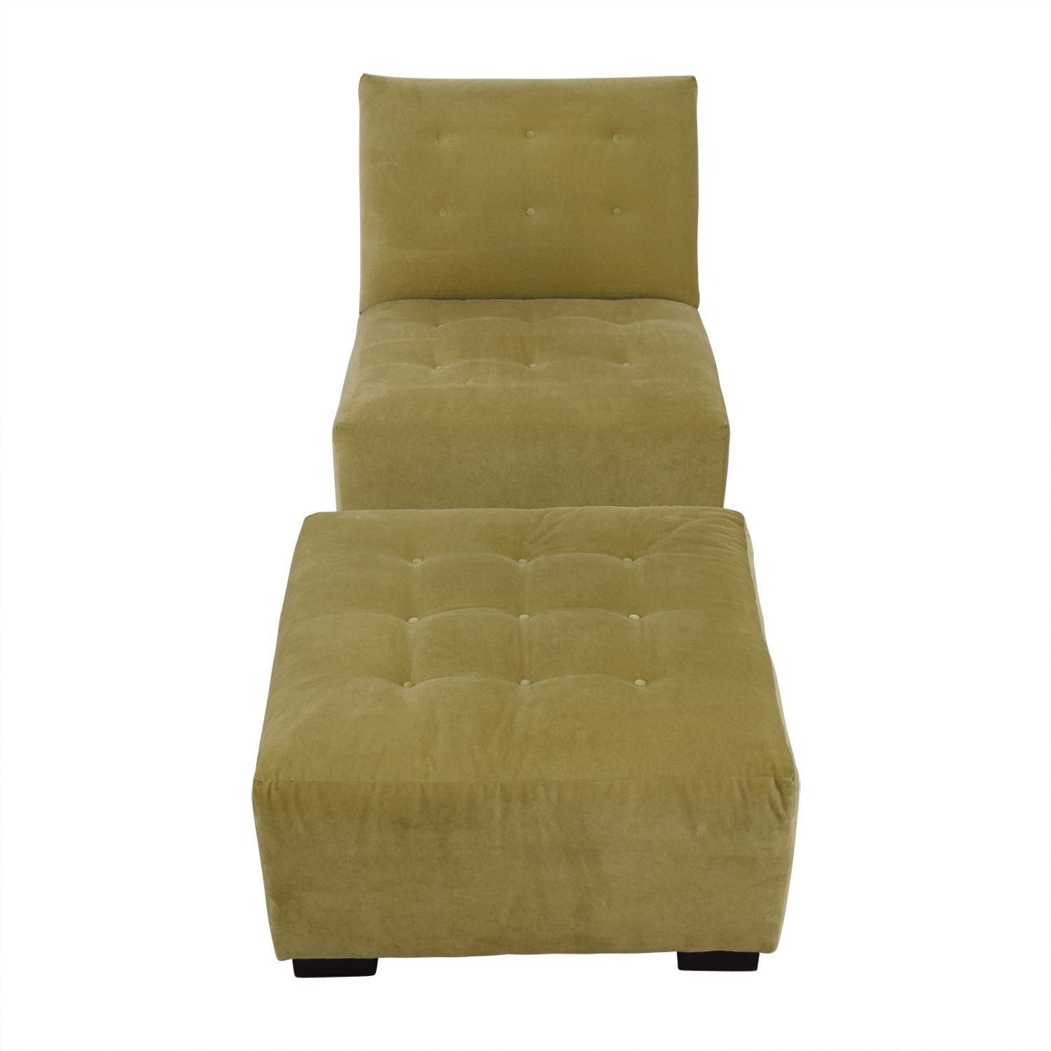 Mitchell Gold + Bob Williams Mitchell Gold + Bob Williams Sage Green Tufted Velvet Lounge Chair & Ottoman discount
