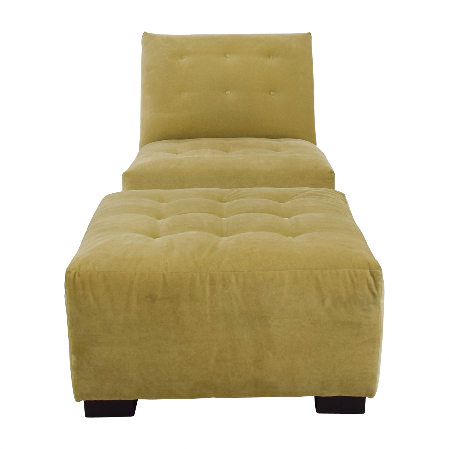 Mitchell Gold + Bob Williams Mitchell Gold + Bob Williams Sage Green Tufted Velvet Lounge Chair & Ottoman nyc
