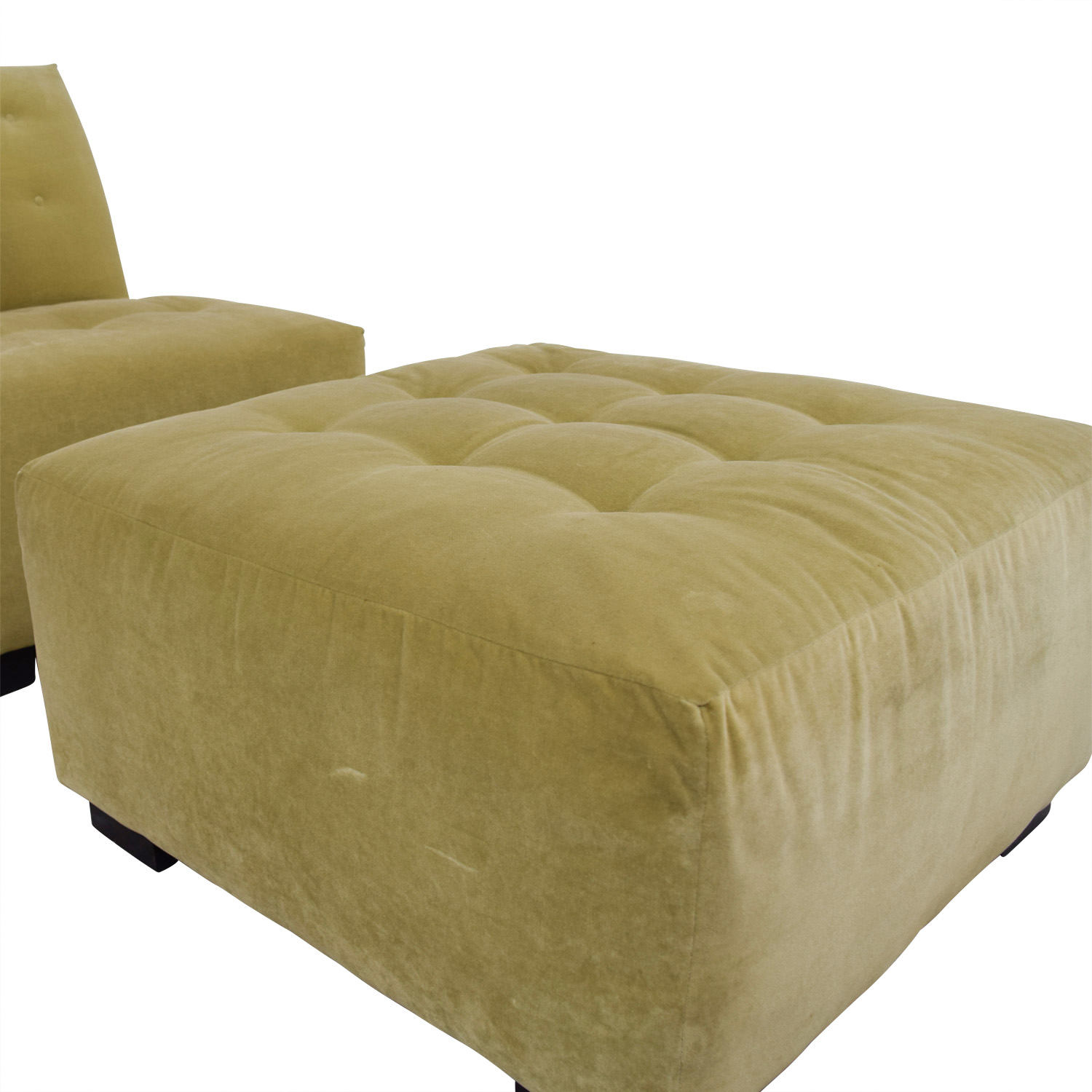 Mitchell Gold + Bob Williams Mitchell Gold + Bob Williams Sage Green Tufted Velvet Lounge Chair & Ottoman for sale