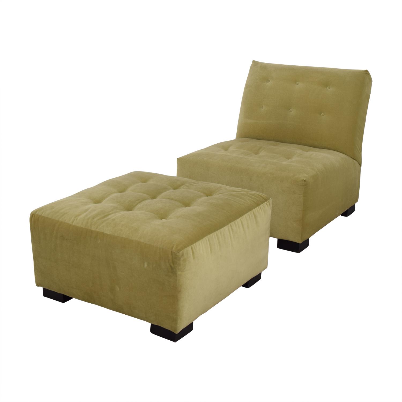 Mitchell Gold + Bob Williams Mitchell Gold + Bob Williams Sage Green Tufted Velvet Lounge Chair & Ottoman Sofas