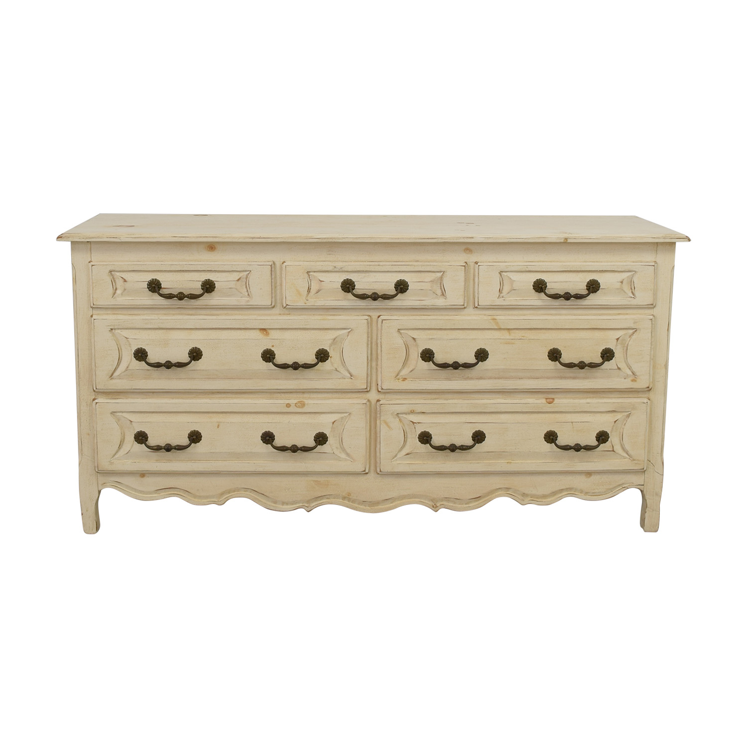 Habersham Plantation Habersham Plantation Distressed Seven-Drawer Distressed Cream Double Dresser nj
