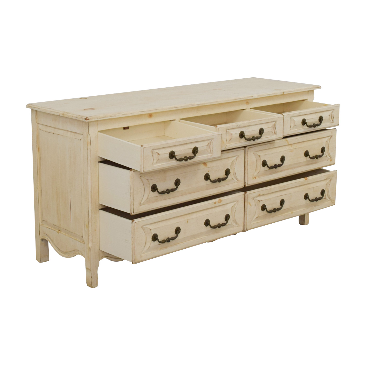 Habersham Plantation Habersham Plantation Distressed Seven-Drawer Distressed Cream Double Dresser for sale