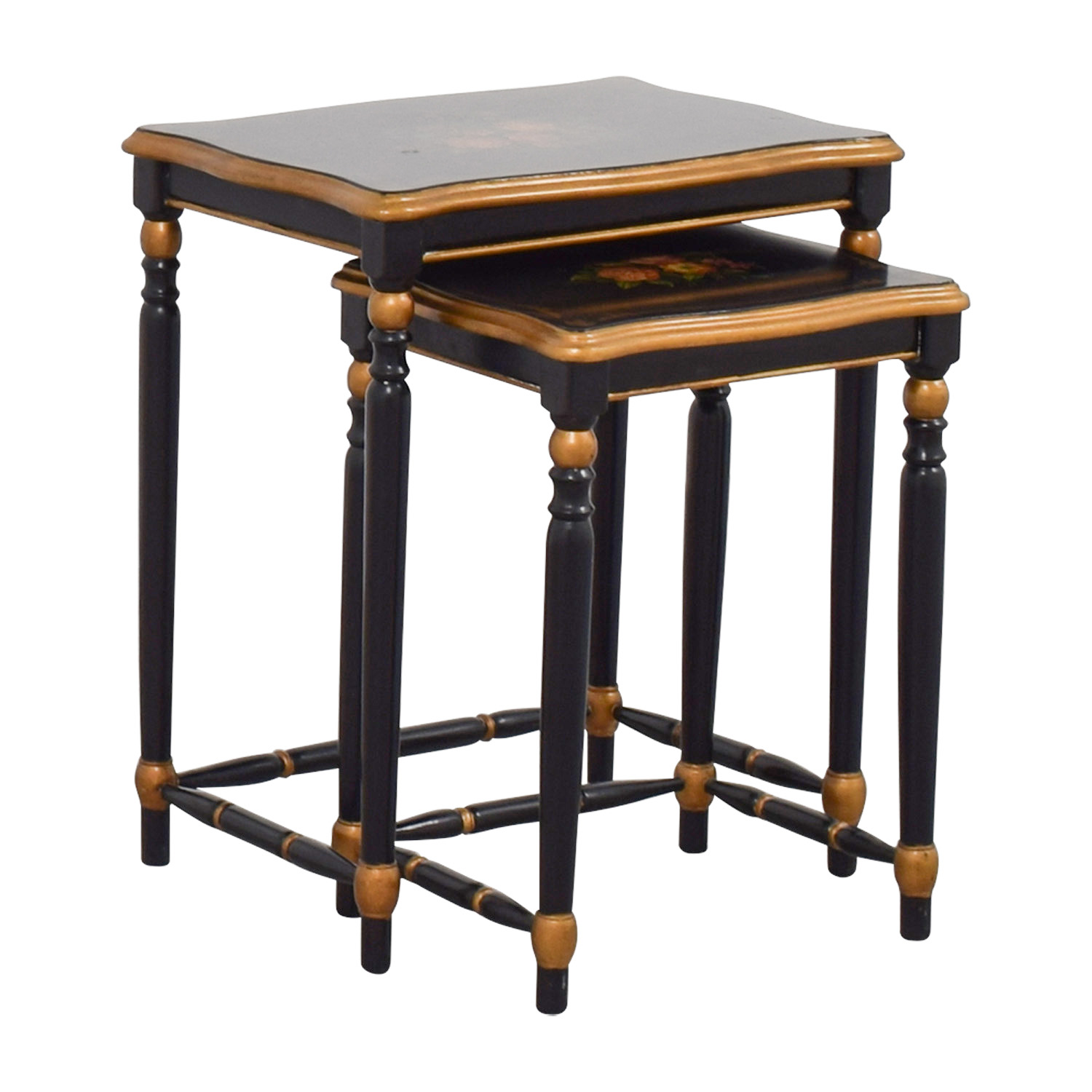 Oriental Accent Oriental Accent Nesting Tables with Painted Flower Design nj