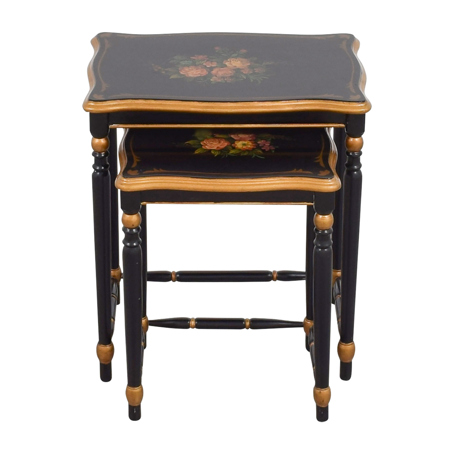 Oriental Accent Oriental Accent Nesting Tables with Painted Flower Design used