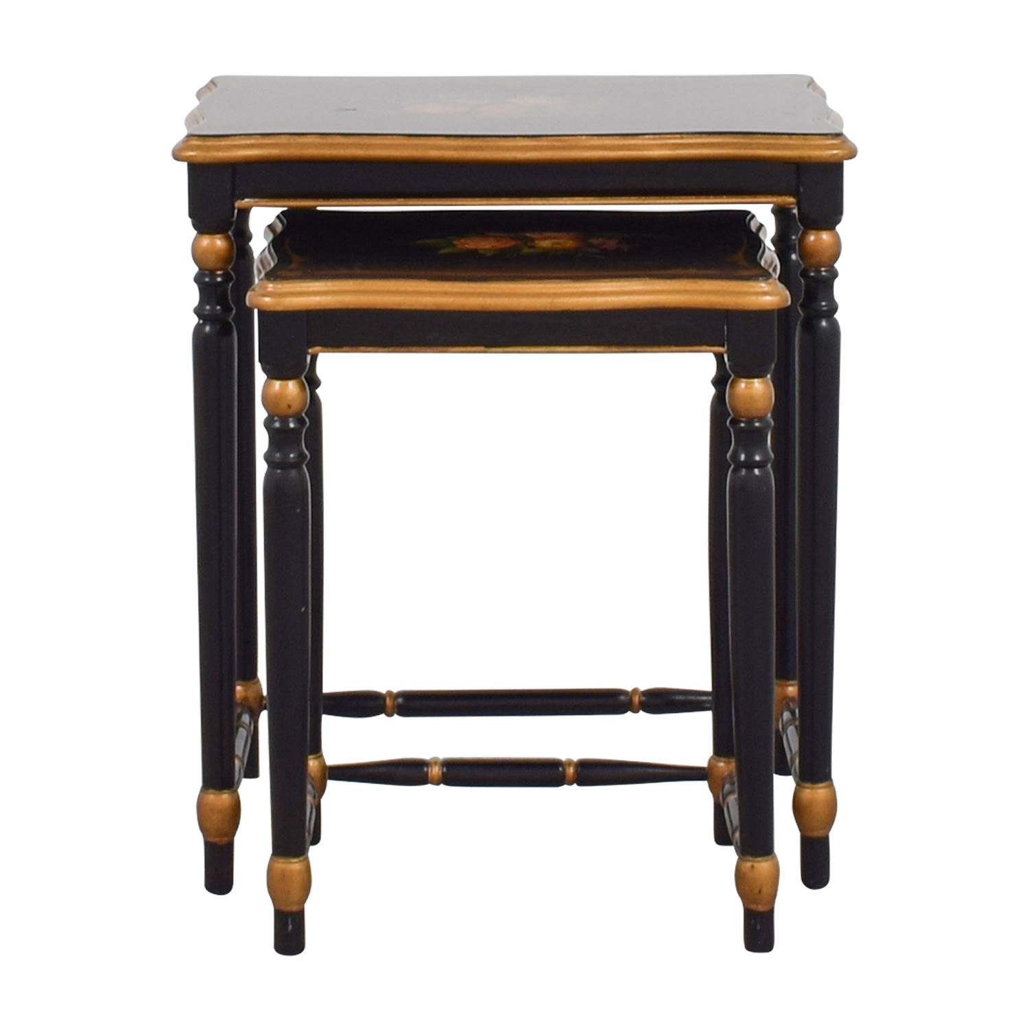 Oriental Accent Oriental Accent Nesting Tables with Painted Flower Design