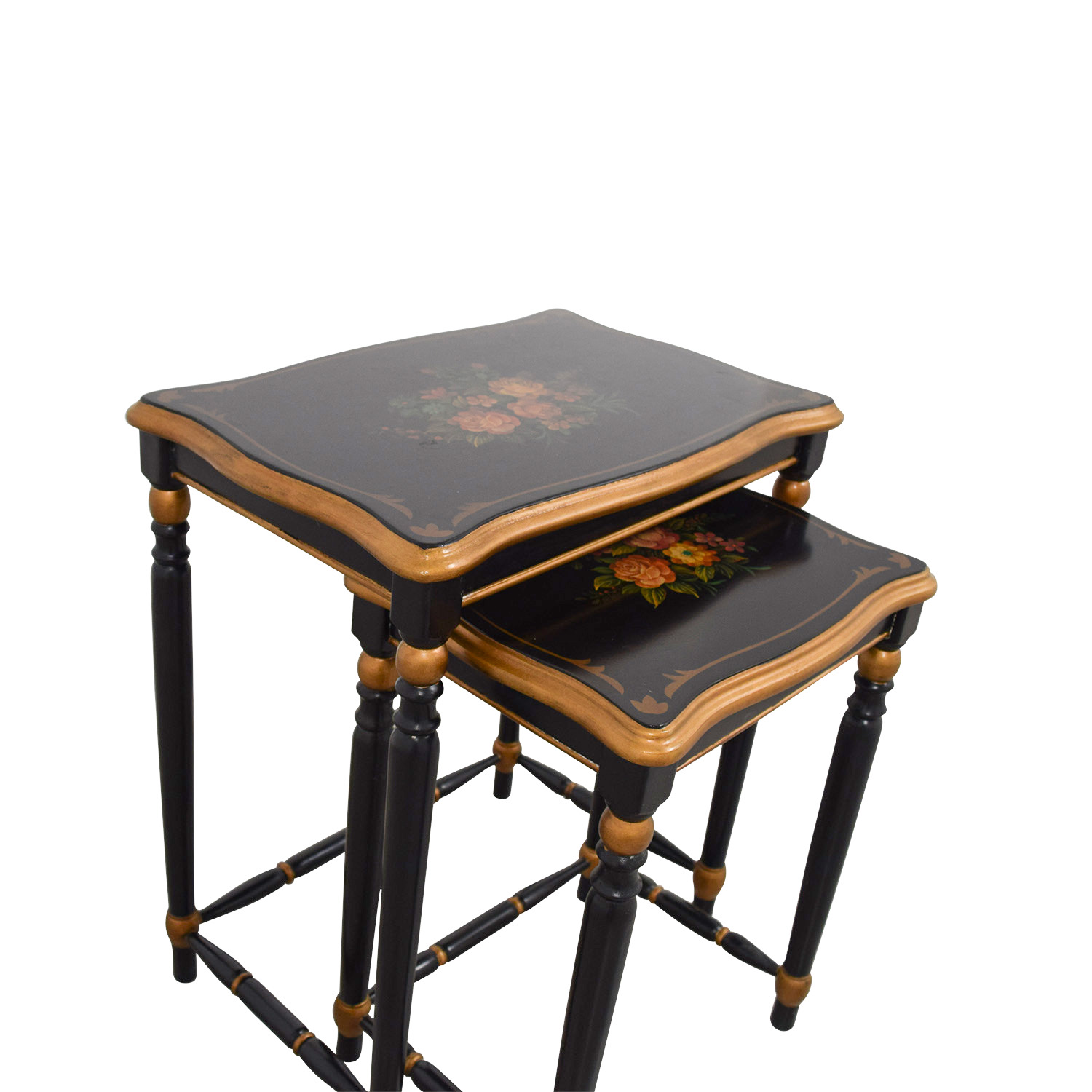 Oriental Accent Nesting Tables with Painted Flower Design / Tables