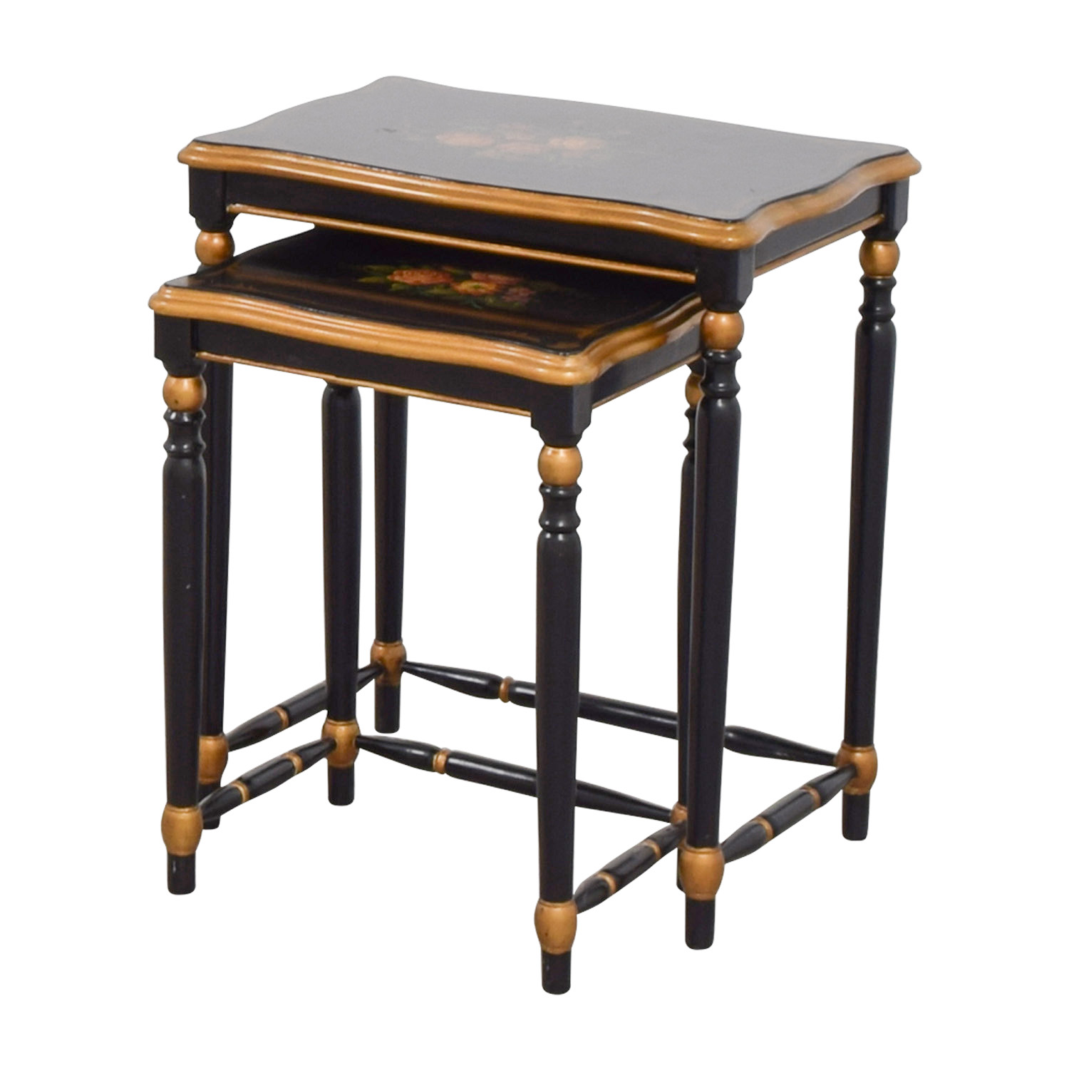 Oriental Accent Oriental Accent Nesting Tables with Painted Flower Design on sale