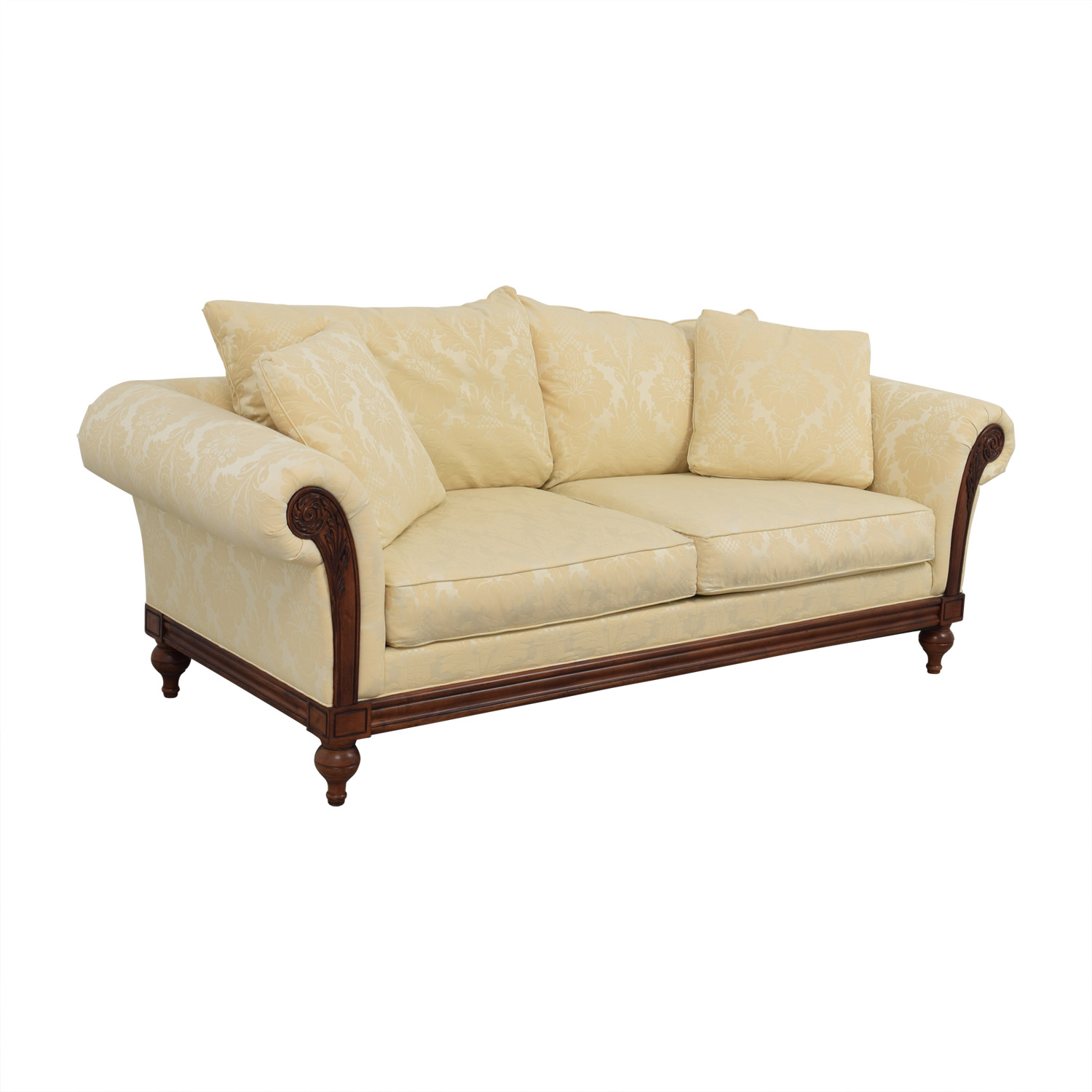 Ethan Allen Ivory Jacquard Sofa with Wood Frame / Sofas