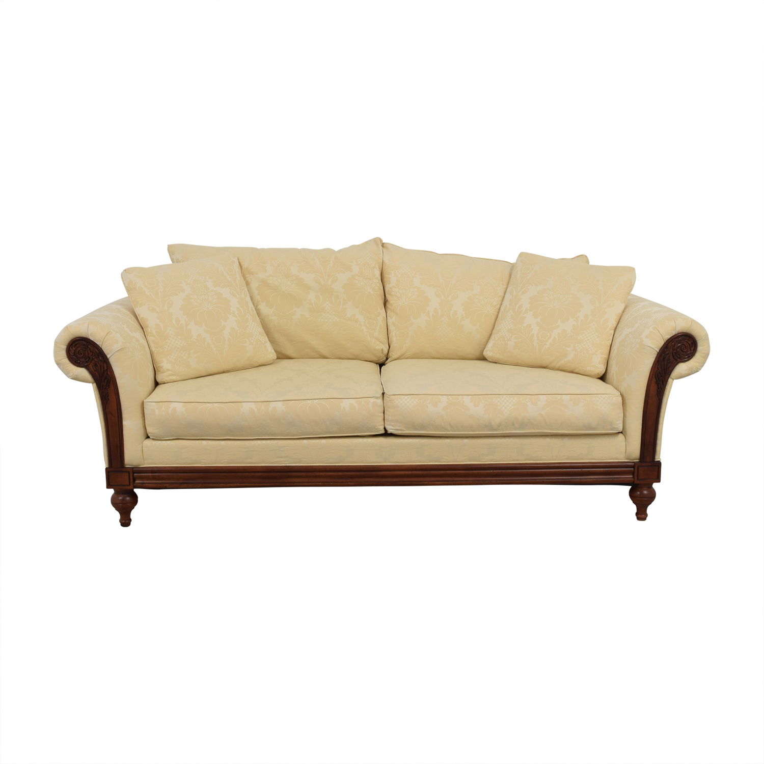 buy Ethan Allen Ivory Jacquard Sofa with Wood Frame Ethan Allen Sofas