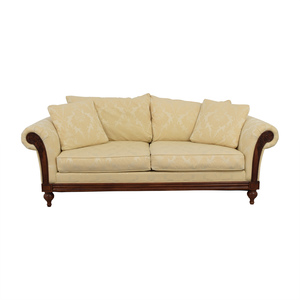 Ethan Allen Ethan Allen Ivory Jacquard Sofa with Wood Frame coupon