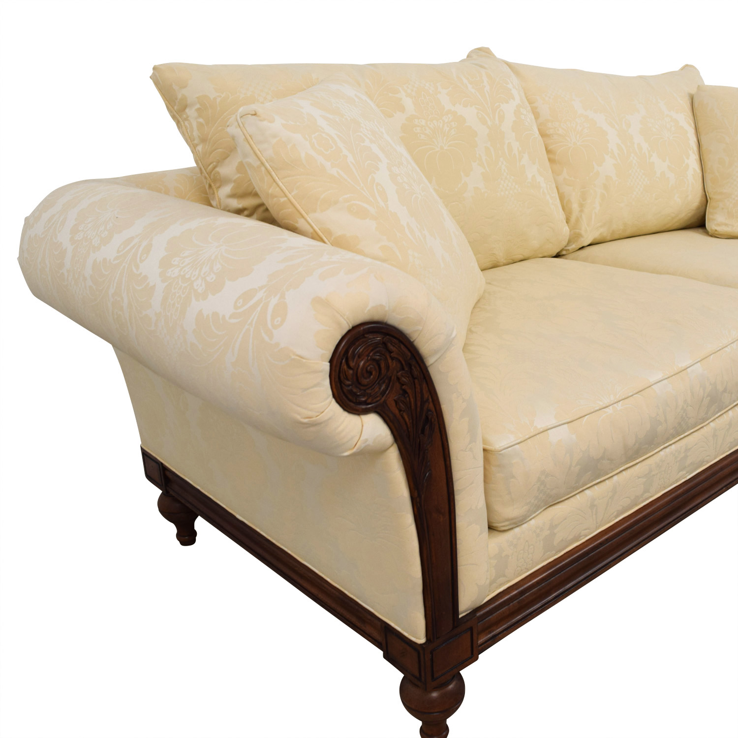 Ethan Allen Ethan Allen Ivory Jacquard Sofa with Wood Frame