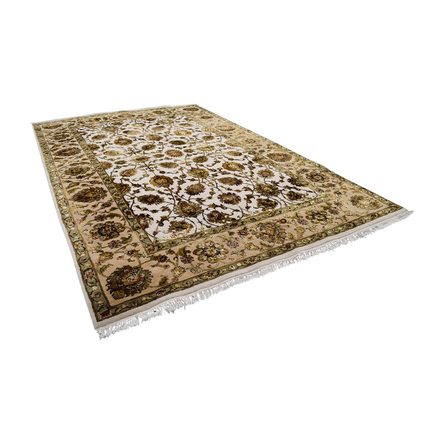 Beige Green and Gold Oriental Rug / Rugs
