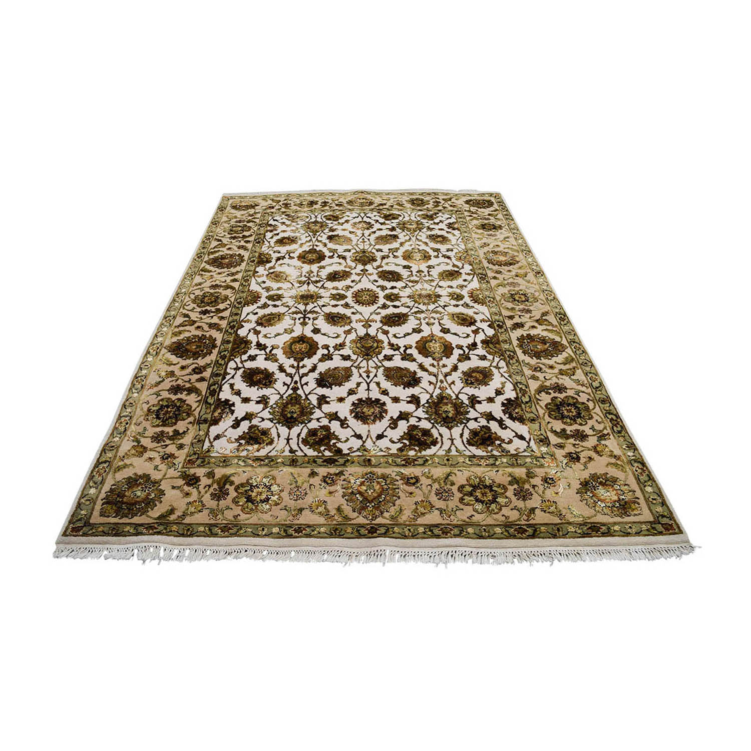Beige Green and Gold Oriental Rug used