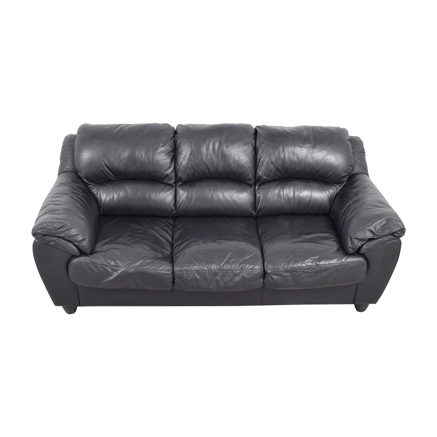 90 Off Raymour Amp Flanigan Raymour Amp Flanigan Black Leather Couch Sofas