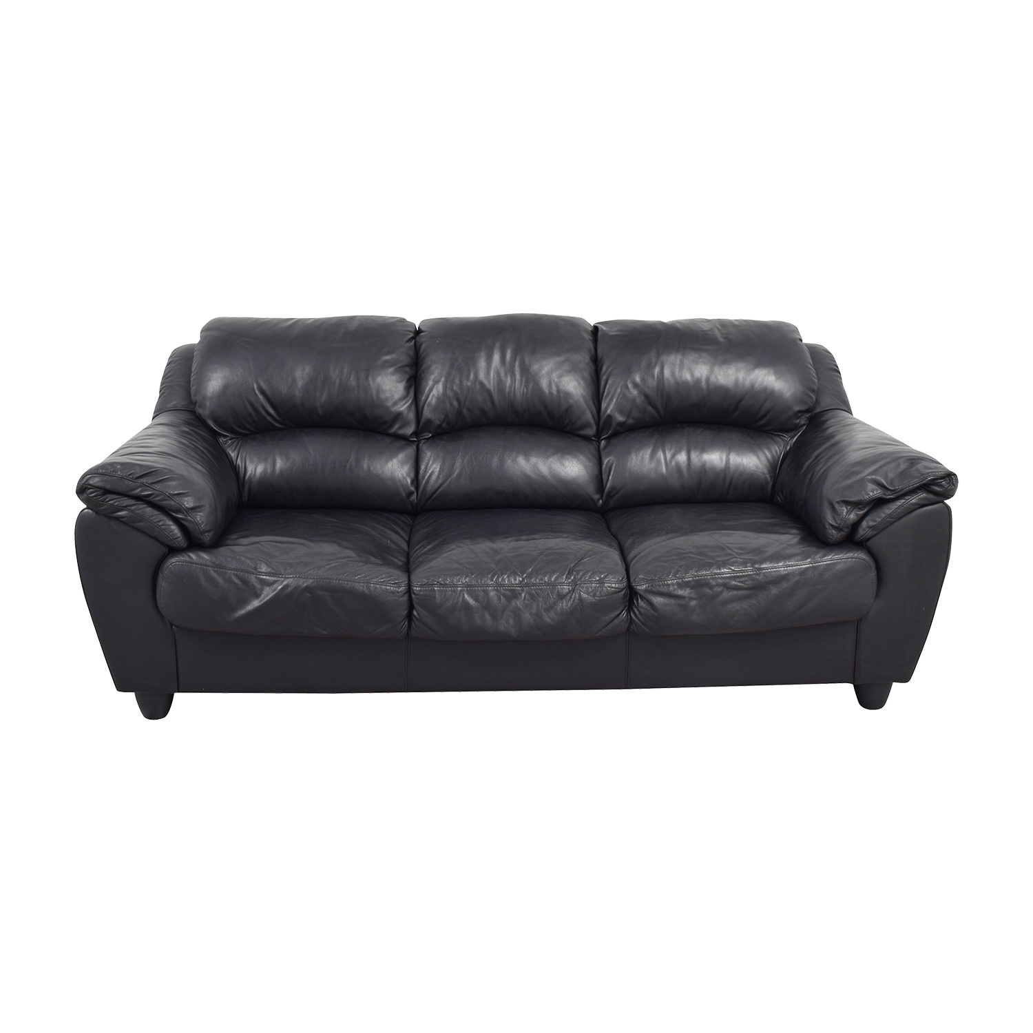 Raymour Flanigan Black Leather Couch Sofas